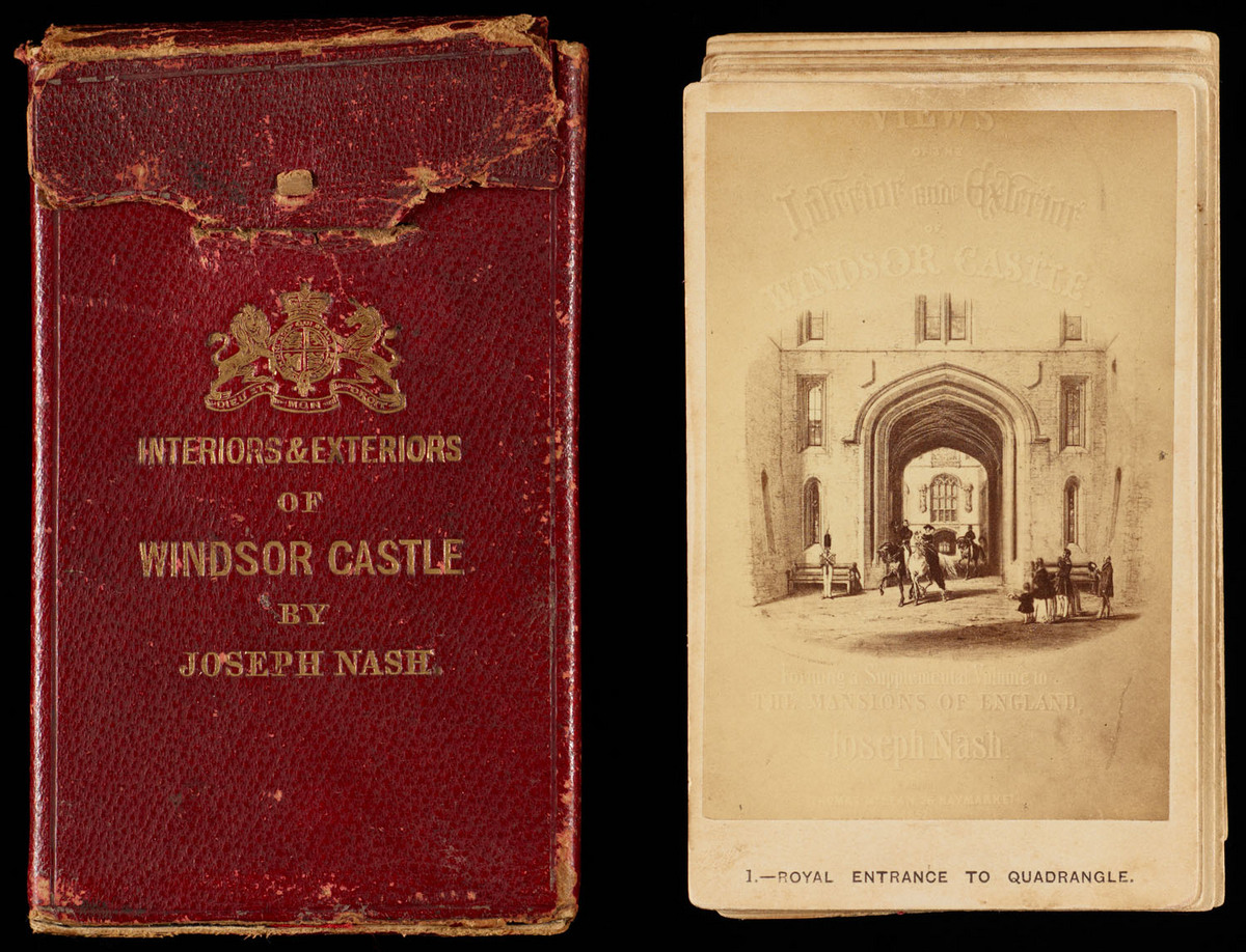 Views of the interior and exterior of Windsor Castle : forming a supplemental volume to the Mansions of England. Front of leather case, open, with cards arranged next to it in a stack