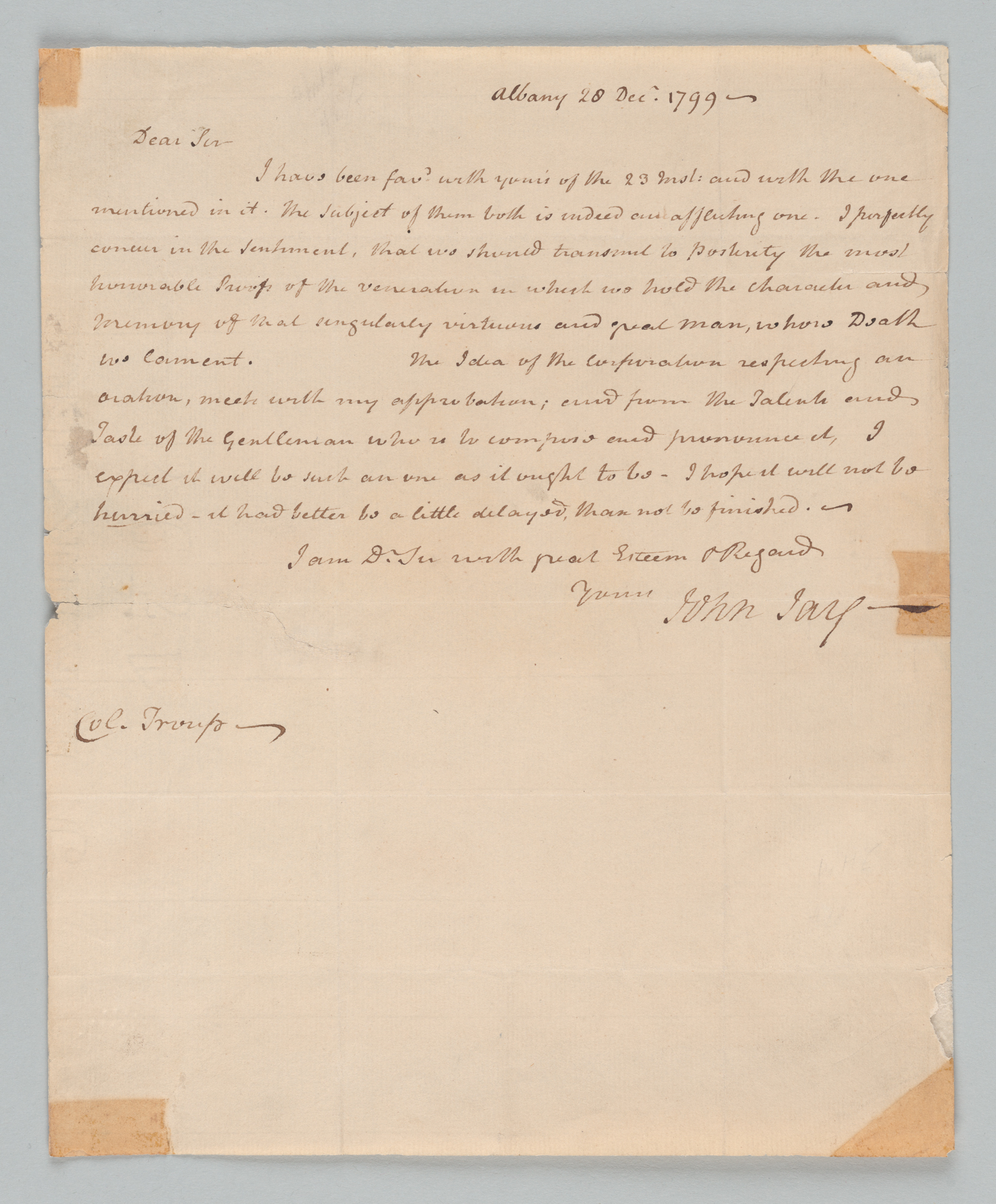John Jay to Peter Troup, front
