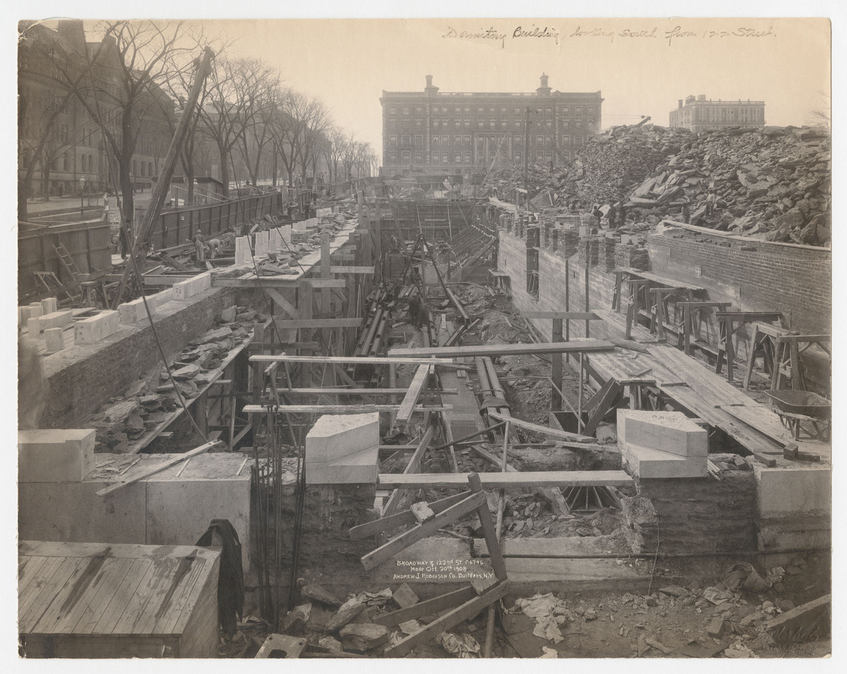Broadway and 122nd St. C-6796. Dormitory Building looking south from 122 Street.