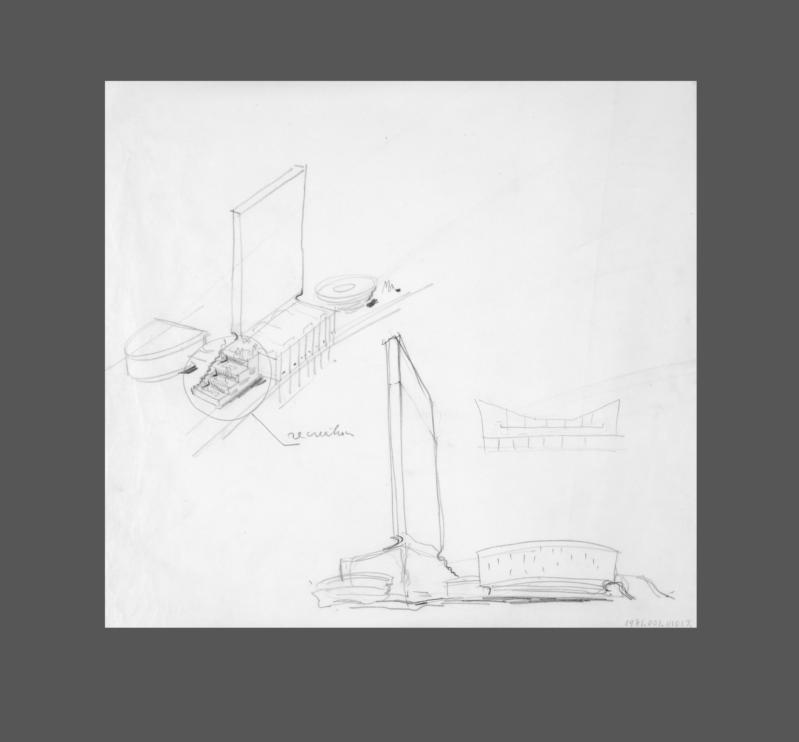 Sketch of original plans for United Nations building