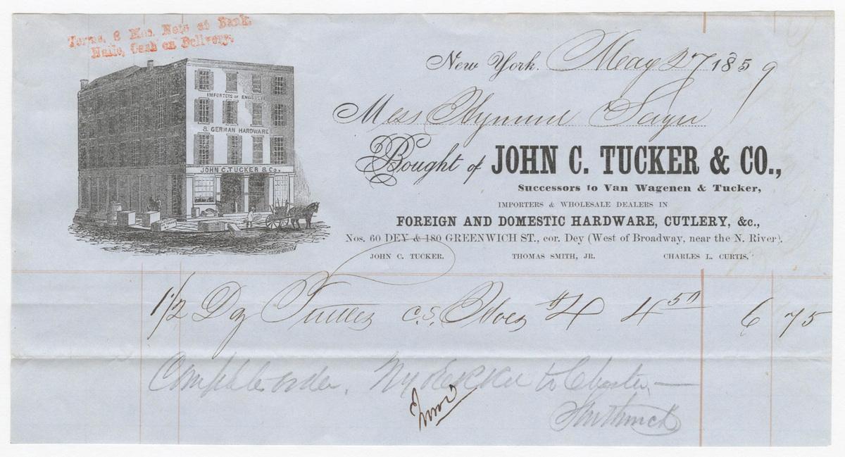 John C. Tucker & Co., bill or receipt