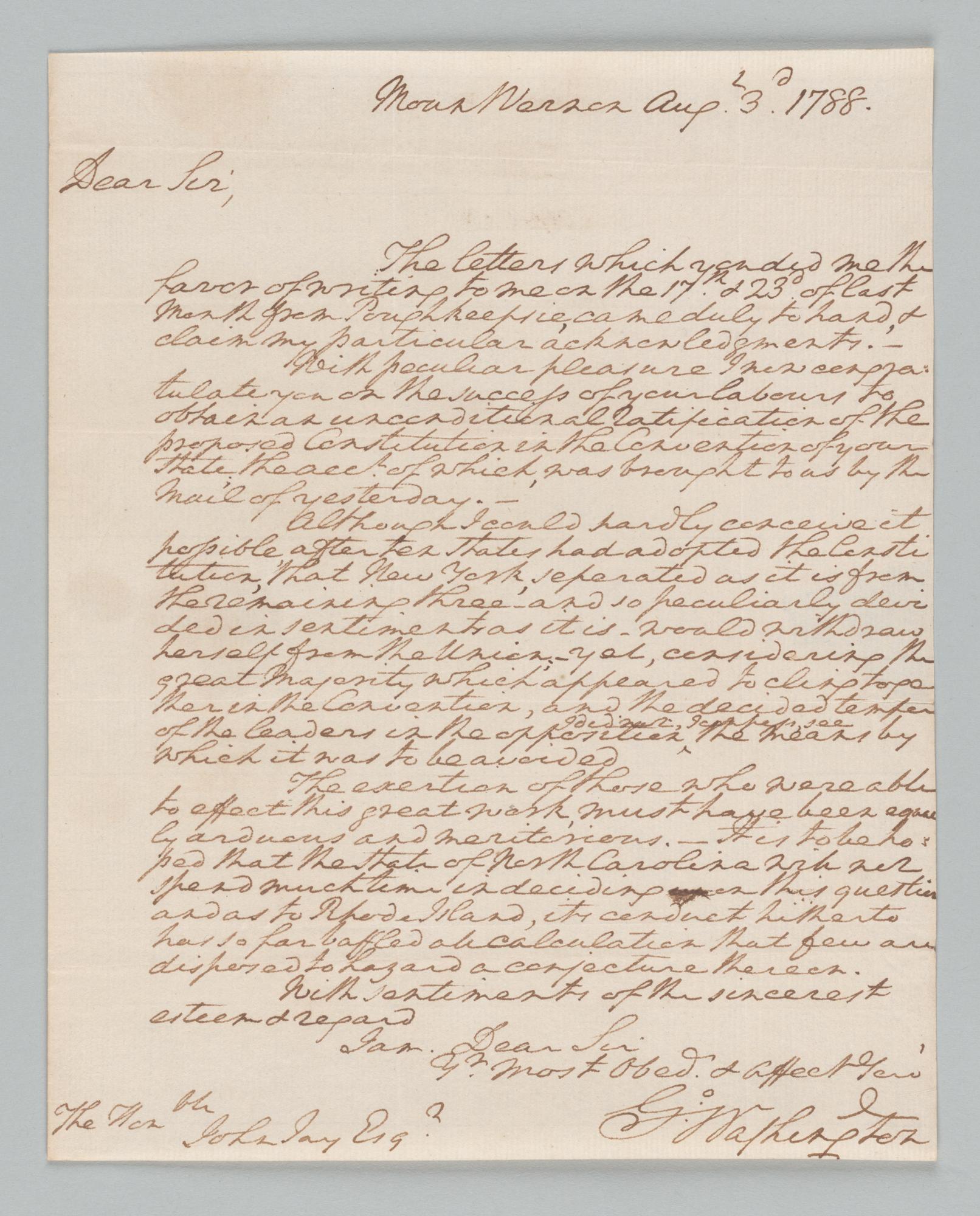 George Washington to John Jay, front