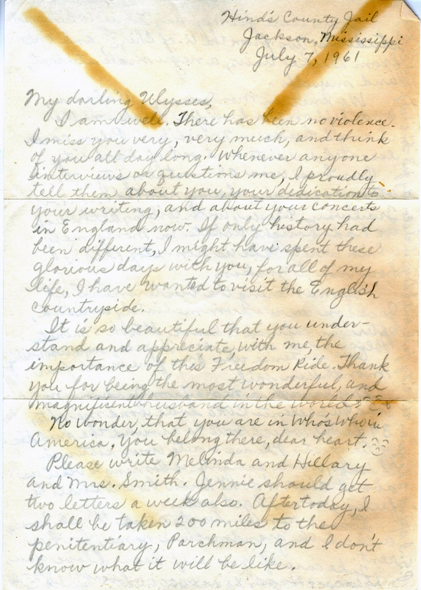 Letter to Ulysses Kay from Hinds County Jail, front