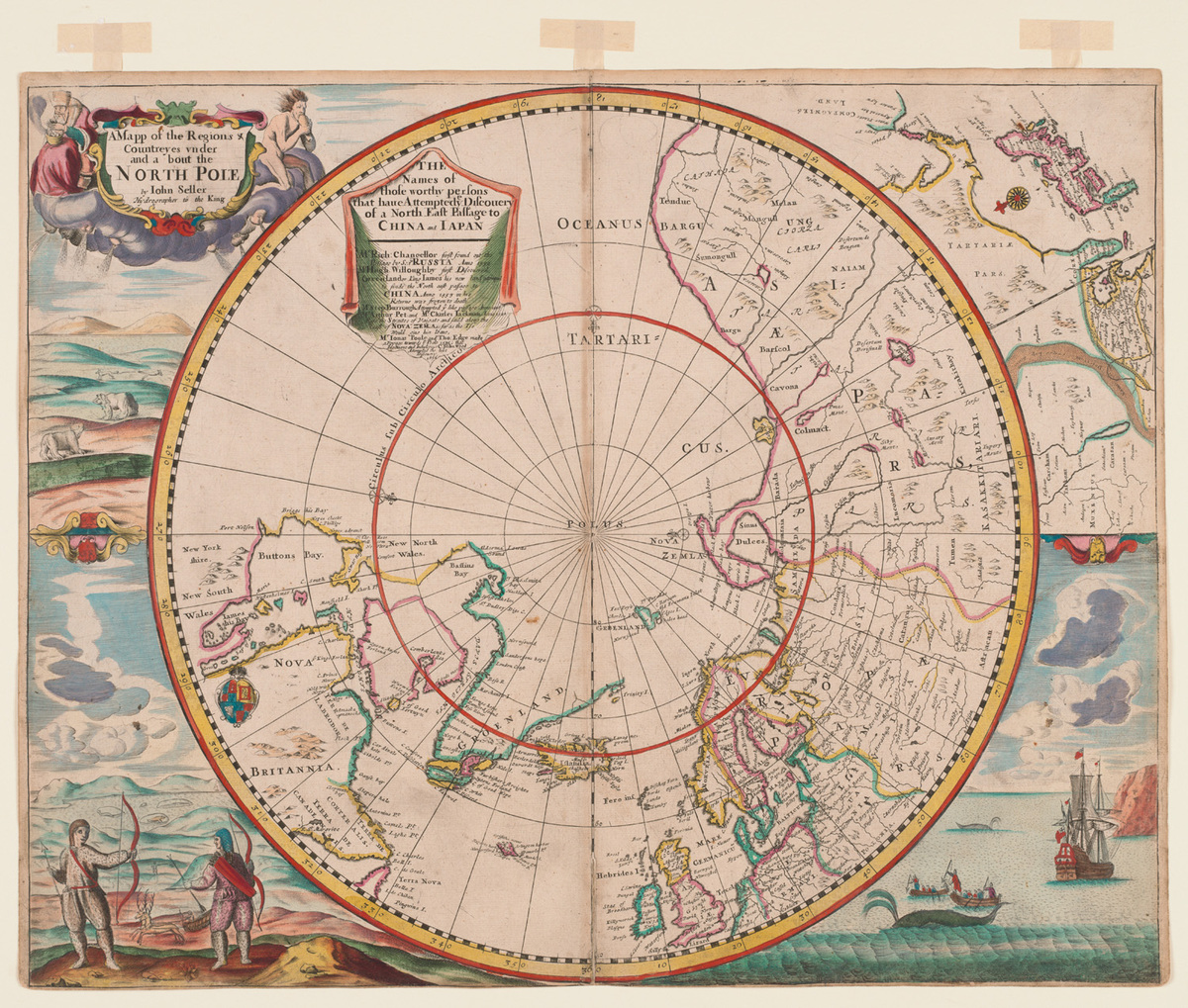 Mapp of Regions and Countreyes Under and About the North Pole.