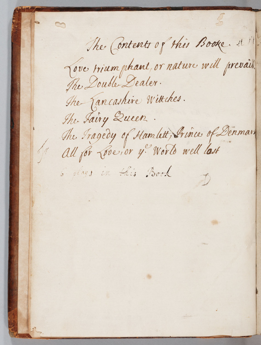 Tragedy of Hamlet Prince of Denmark, Flyleaf (facing title page of Love Triumphant)