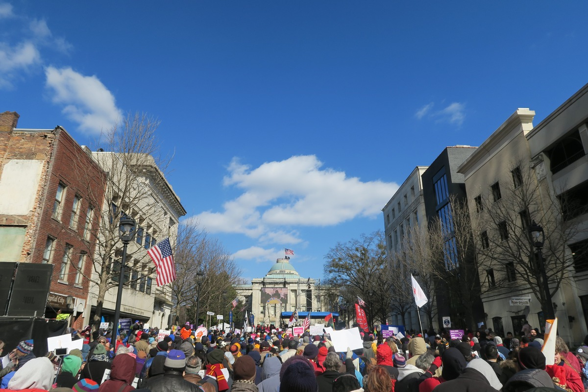Moral Mondays March in front of the NC State Capitol