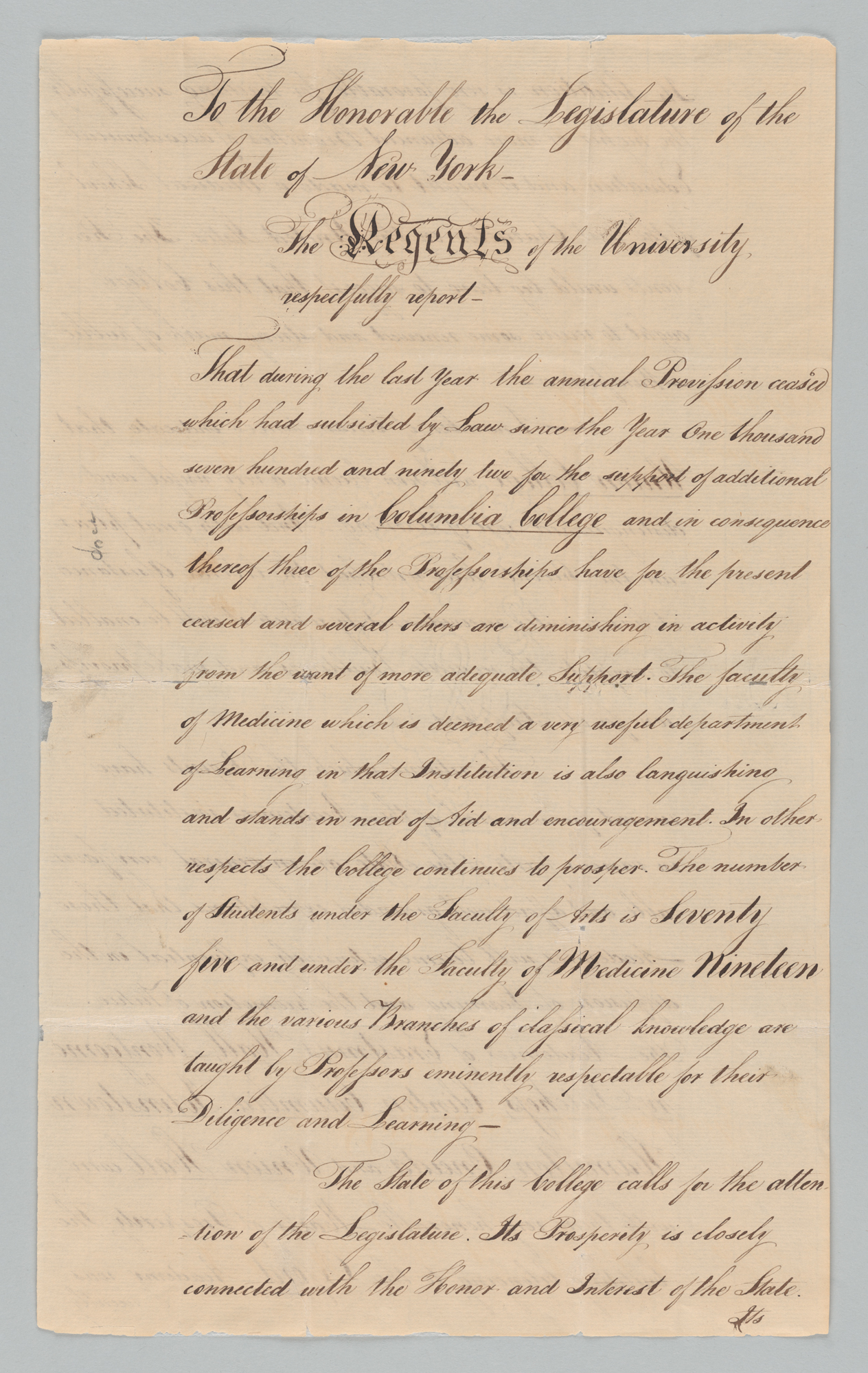 Report of the Regents to the State Legislature, front