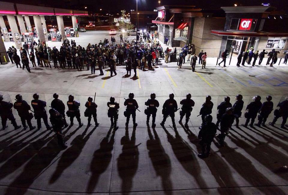 Police line in Occupied St. Louis
