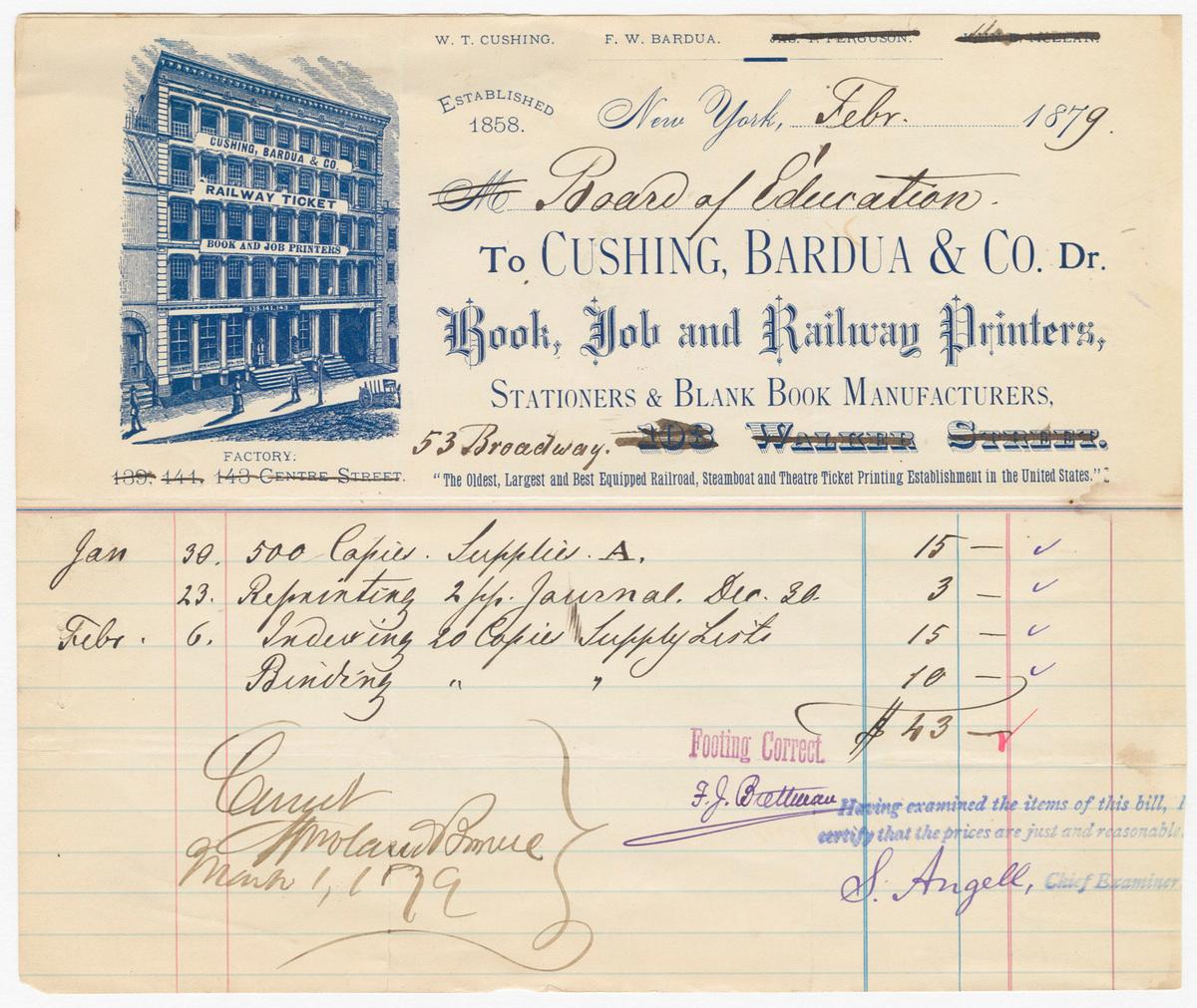 Cushing, Bardua & Co., bill or receipt