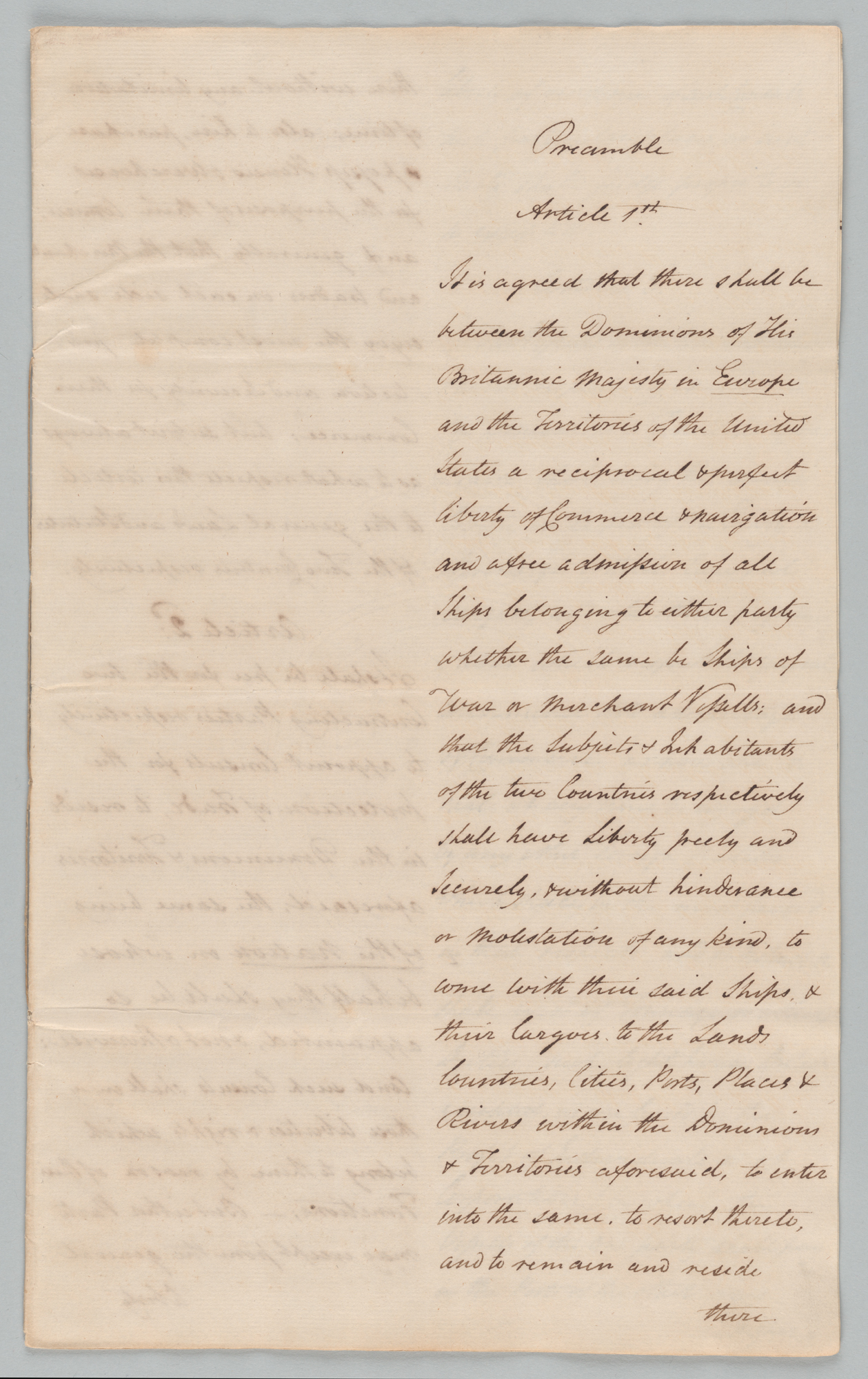 Draft of Commercial Treaty, front