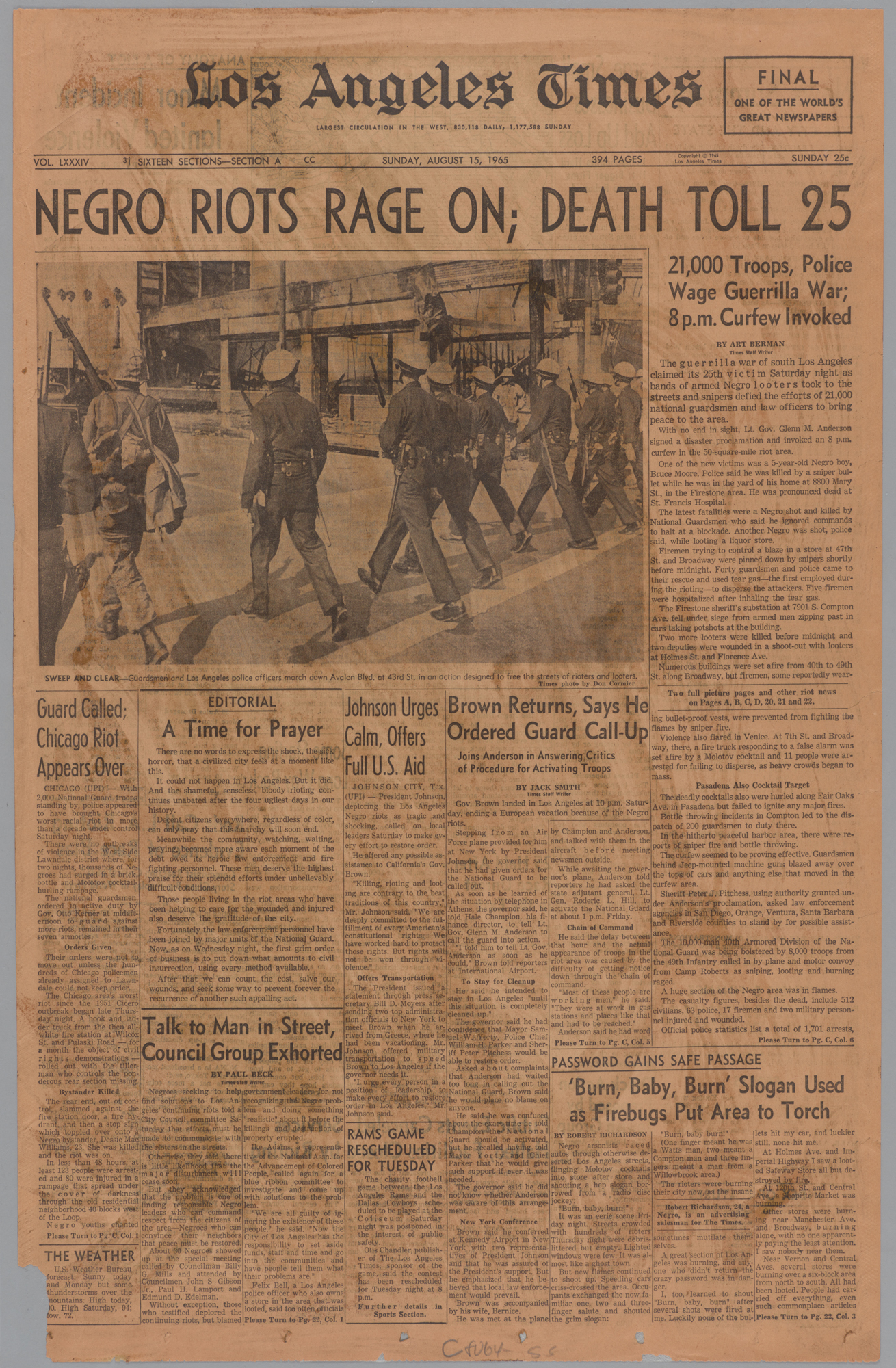 Los Angeles Times, Front Page, August 15, 1965