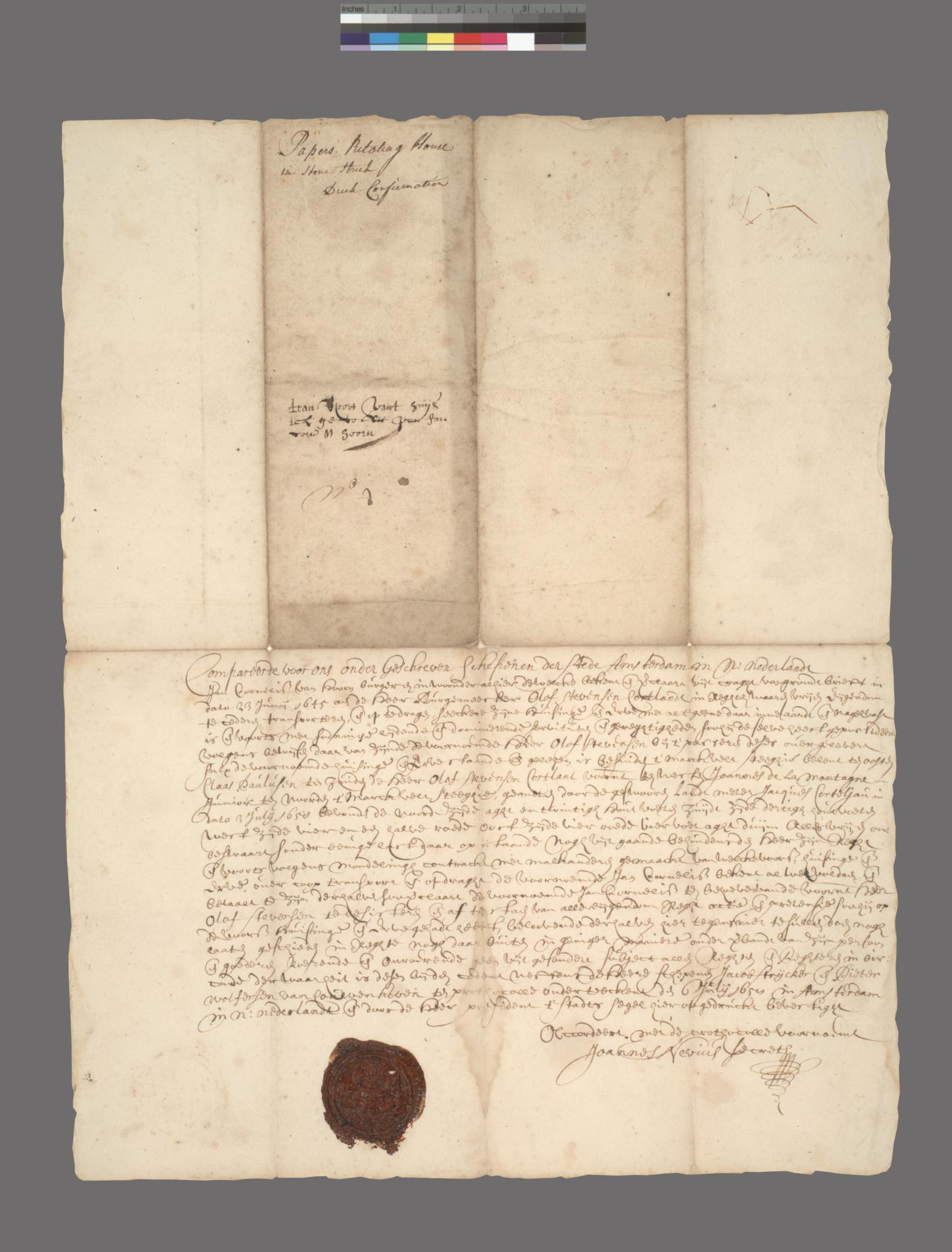 Document pertaining to a plot of land