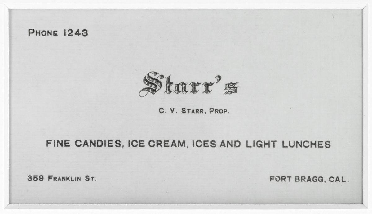 Starr's Fort Bragg Soda Fountain  Business Card