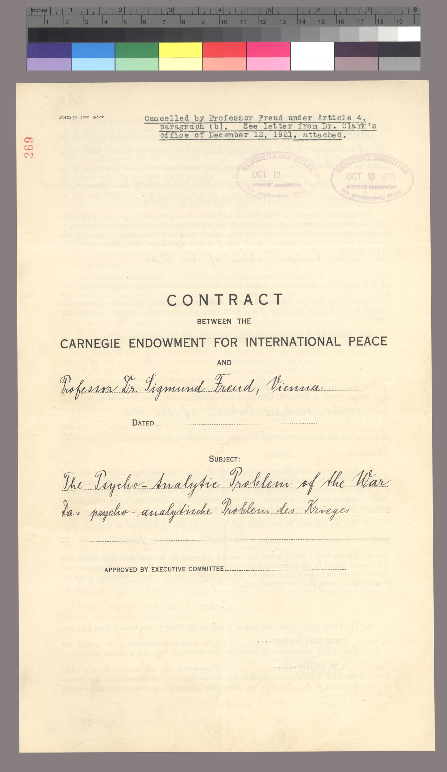 "Contract for ""The Psycho-Analytic Problem of the War"""