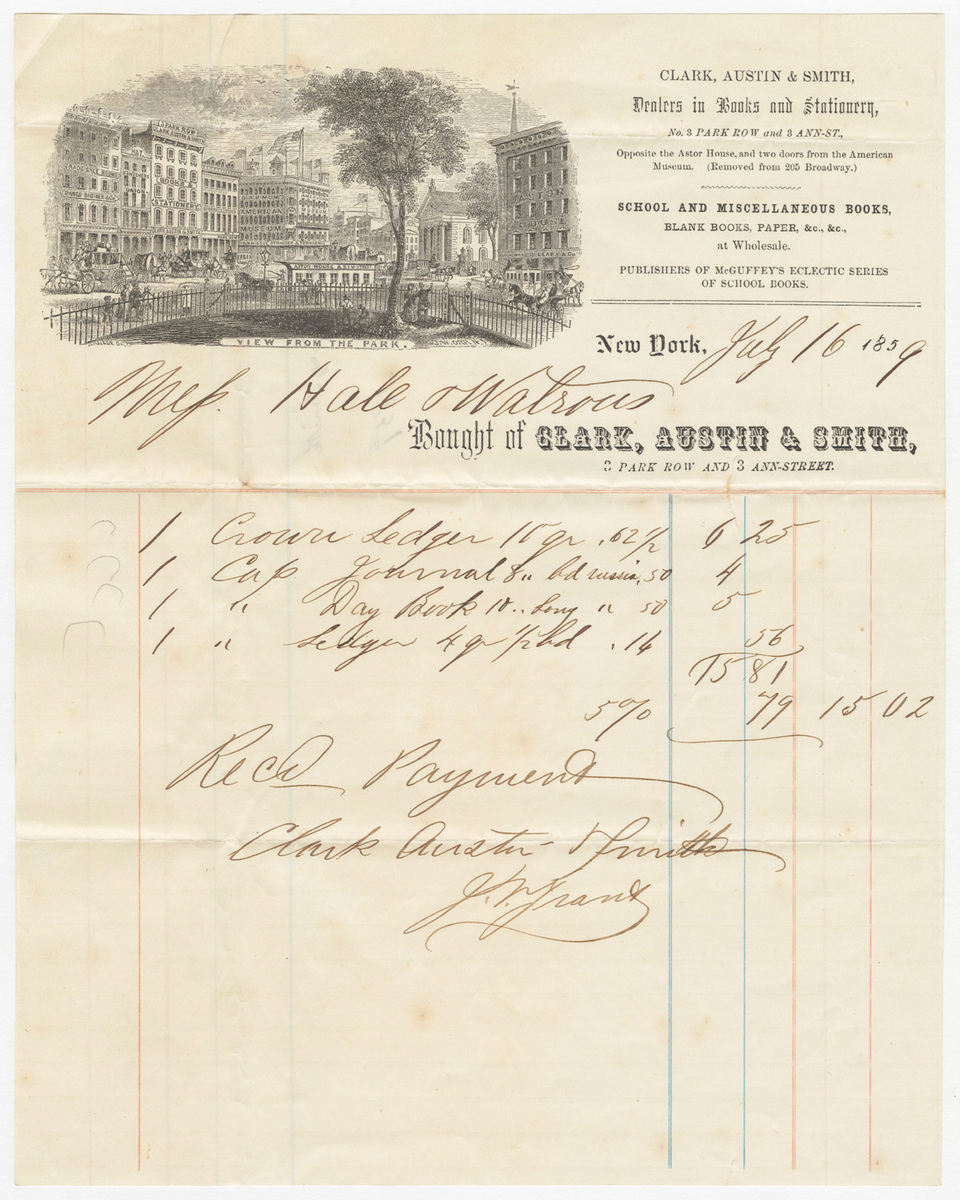 Clark, Austin & Smith, bill or receipt