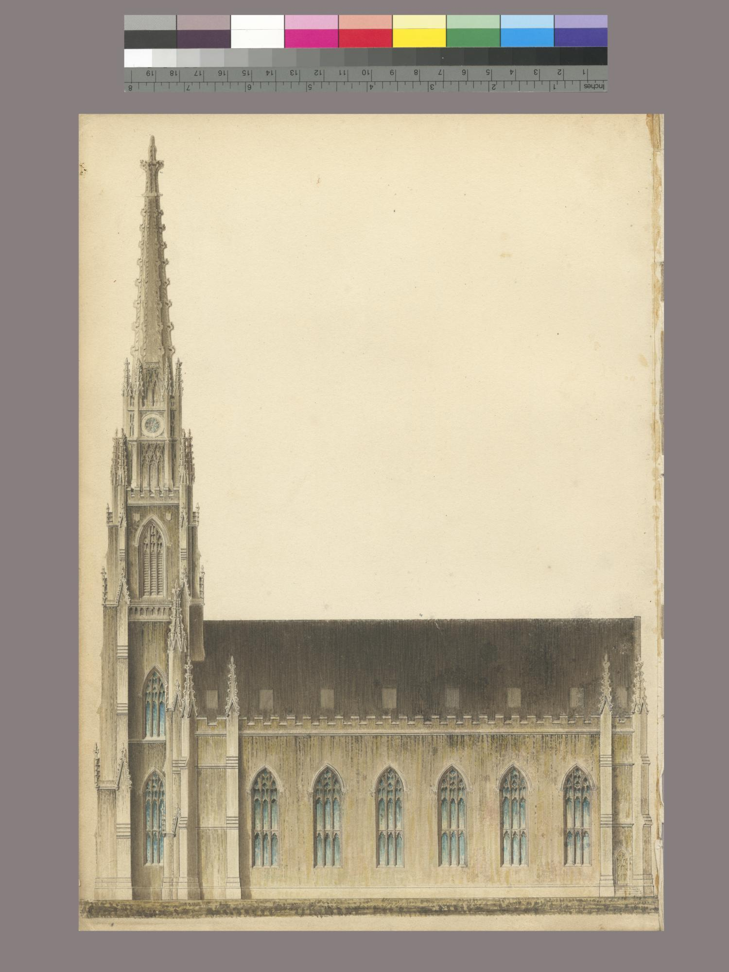 Drawings for unbuilt church in Brooklyn Heights, 1840