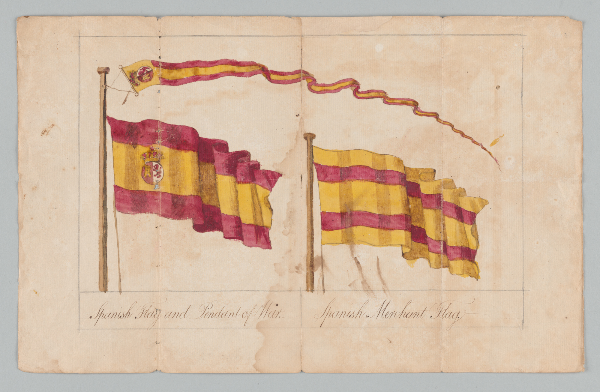 Spanish Flag and Pendant of War. Spanish Merchant Flag, front
