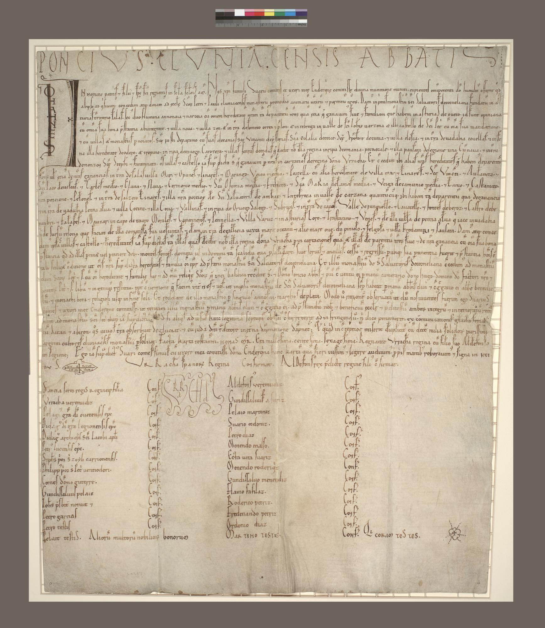 Grant of the monastery of San Salvador de Cornellana to Cluny
