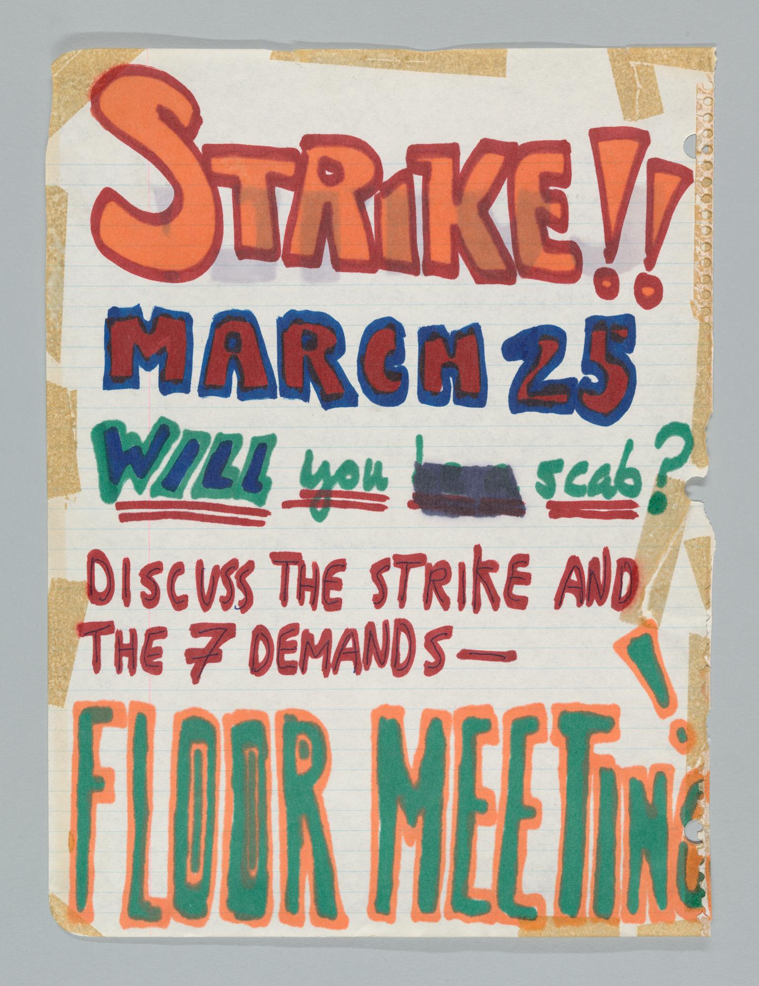 """Strike!!"" Hand-Drawn Sign"