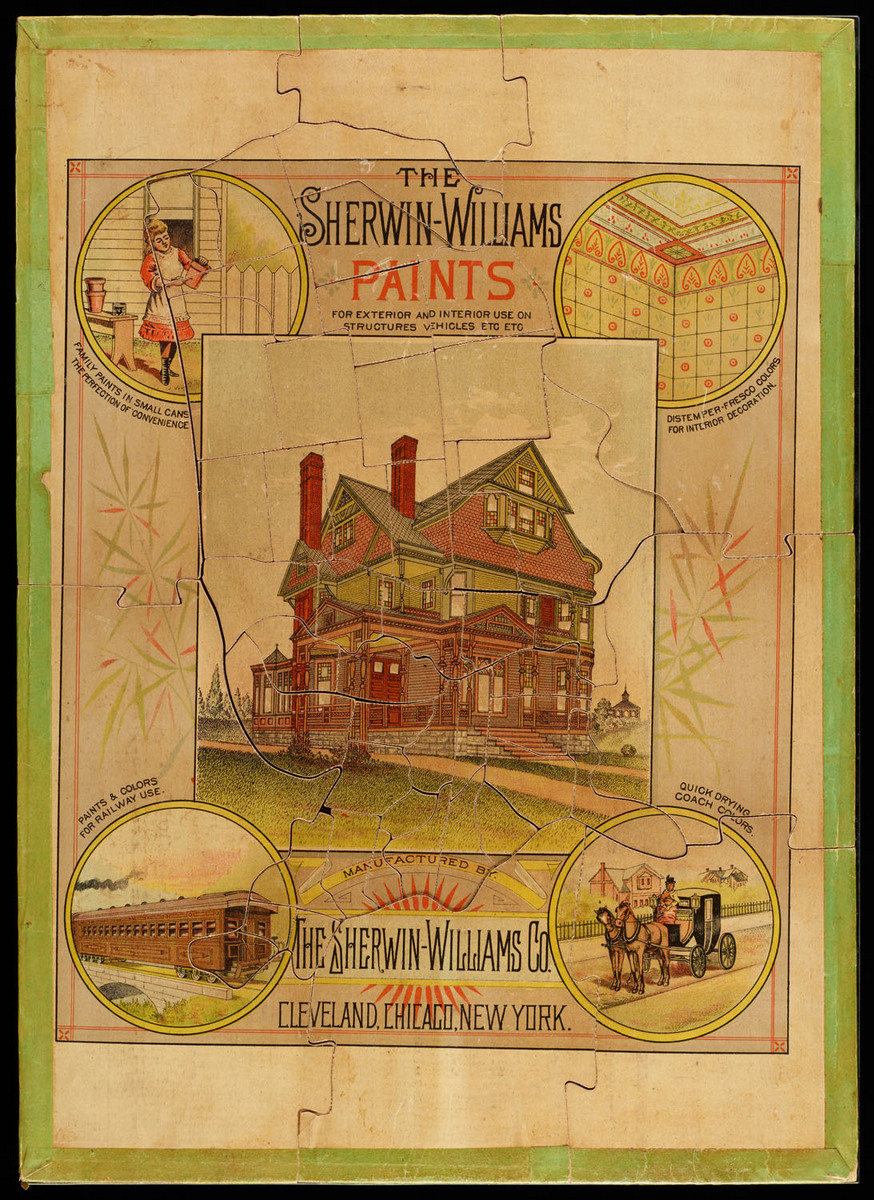 Sherwin-Williams paints for exterior and interior use on structures, vehicles, etc., etc... Whole puzzle with all pieces completed, Sherwin-Williams advertisement side up