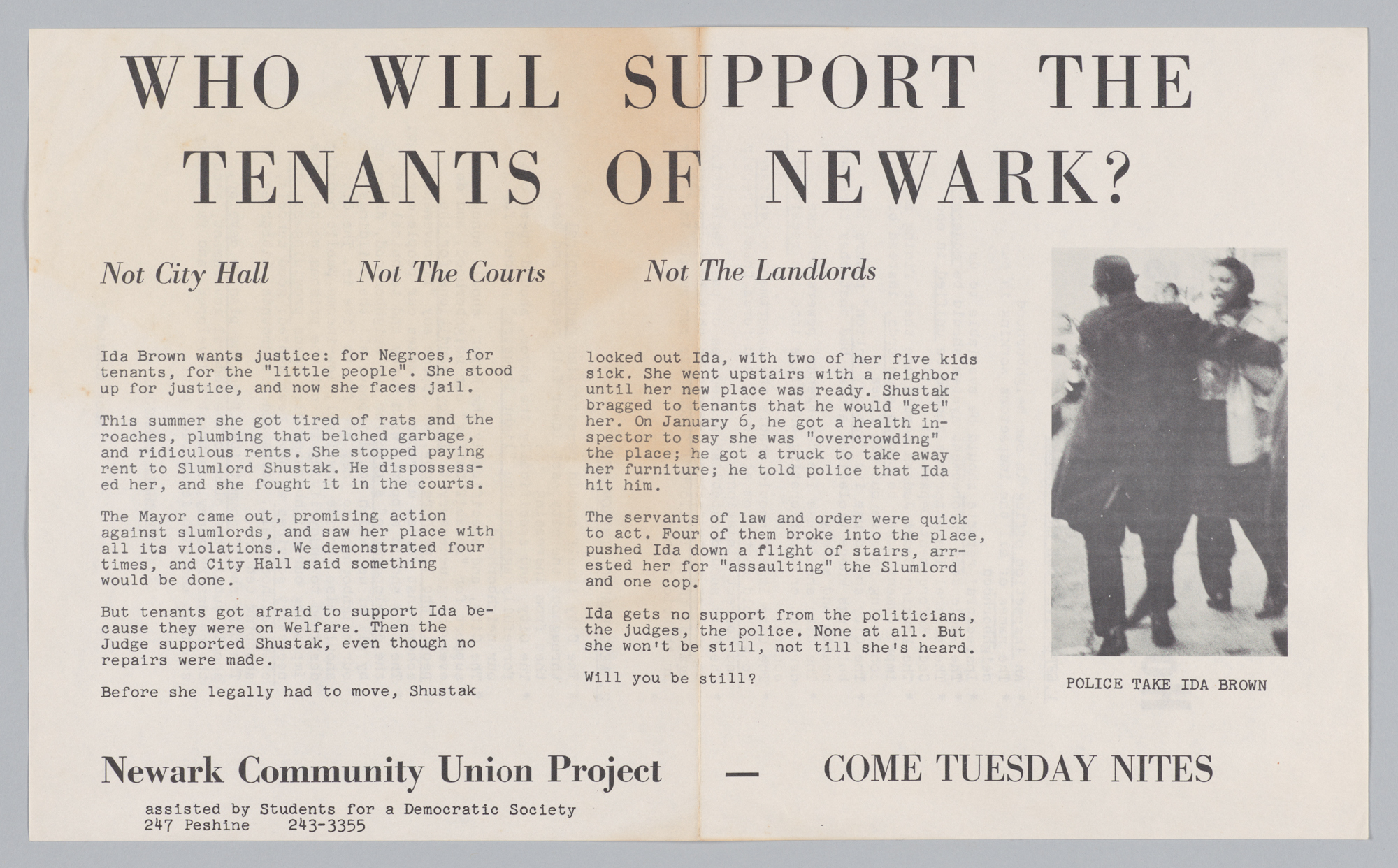 Who Will Support the Tenants of Newark?. Recto