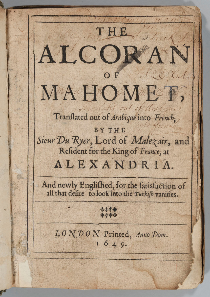 Alcoran of Mahomet, title page