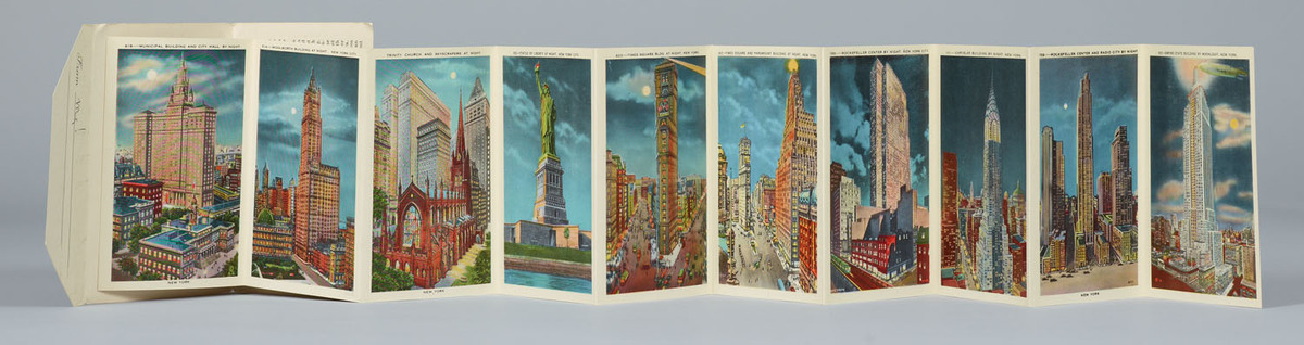 New York by night. Souvenir booklet with accordian-style postcards pulled out
