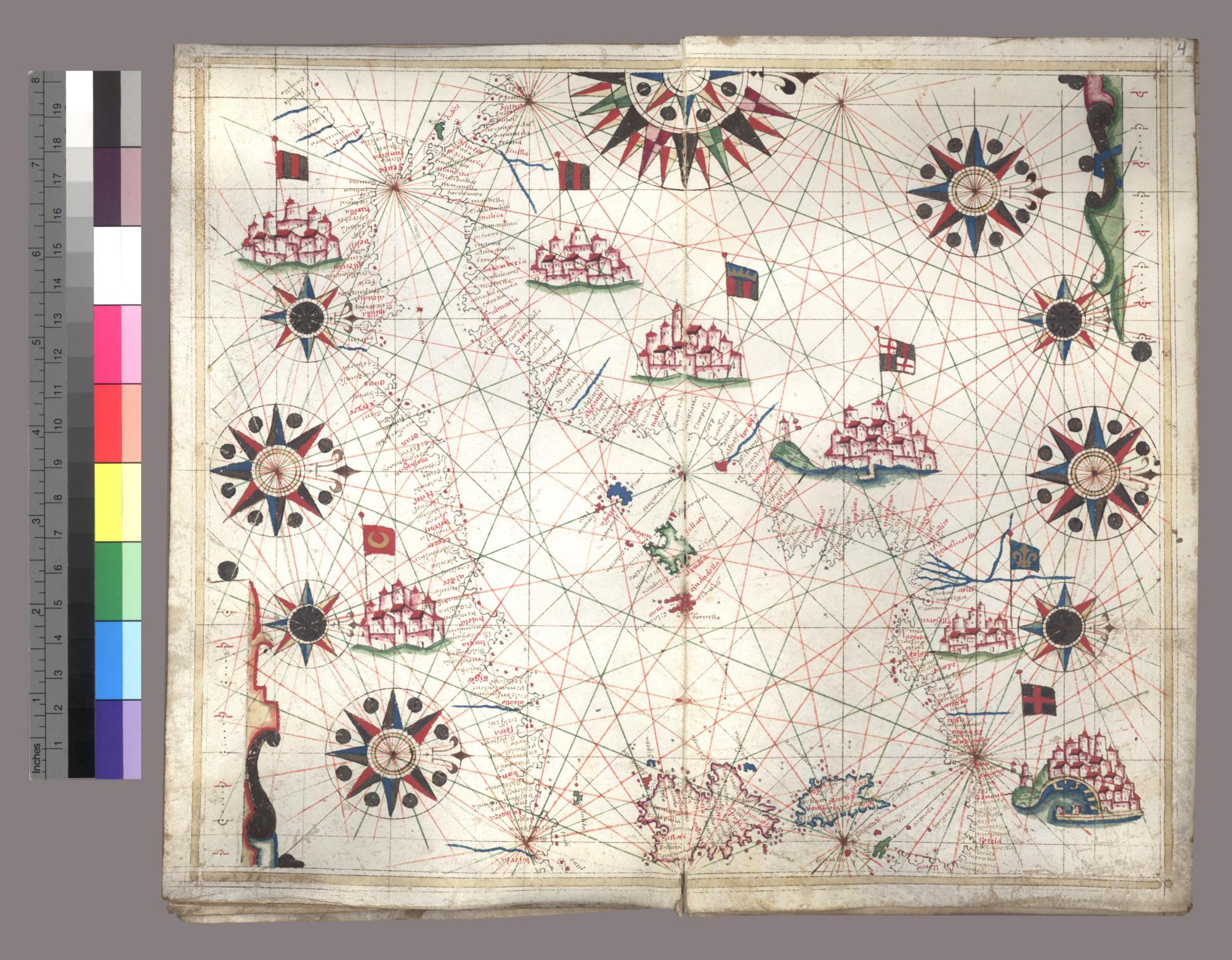 Portolan atlas of five charts of the the European and African Coasts of the Mediterranean and Atlantic