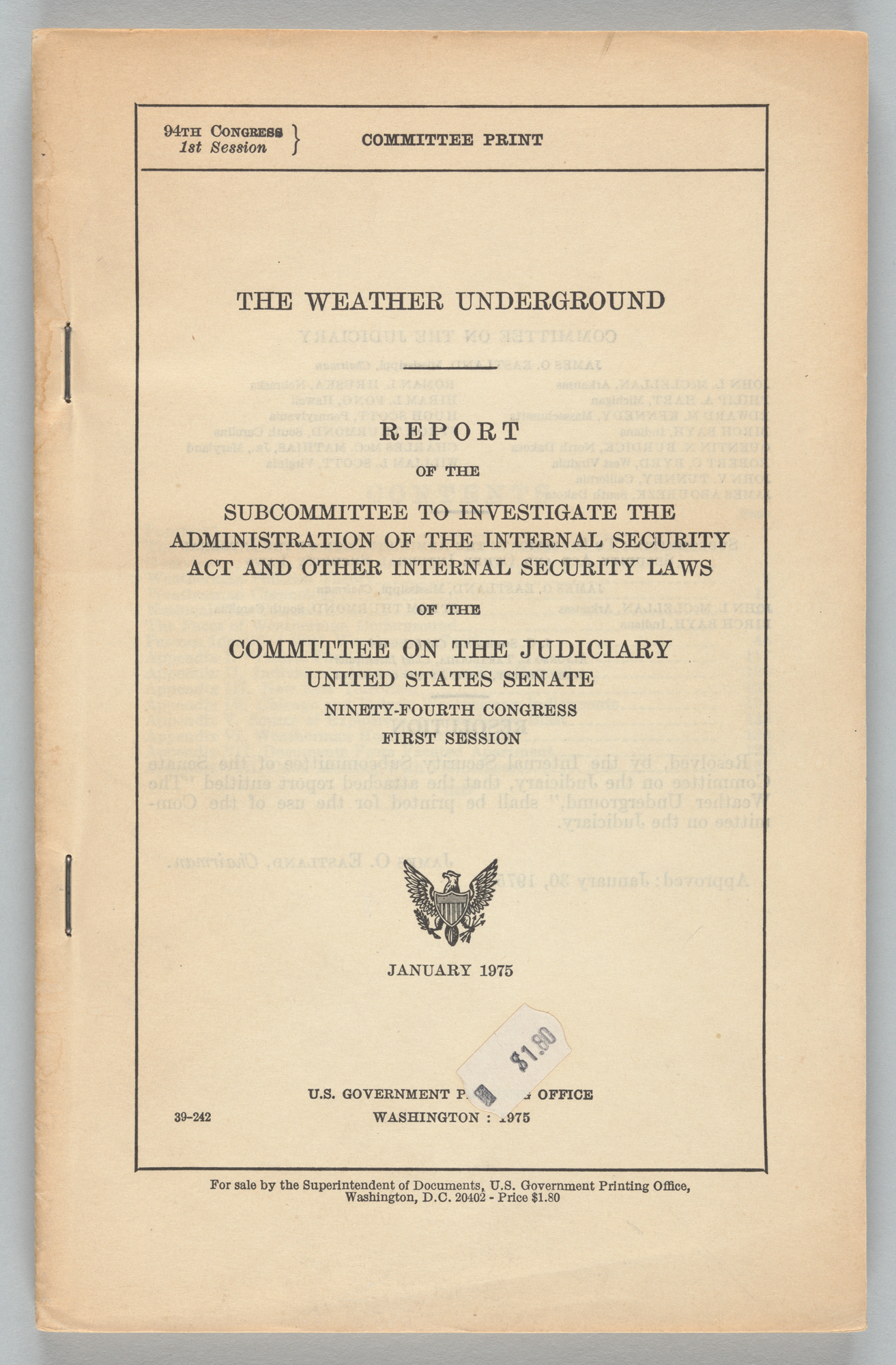 The Weather Underground: Report of the Subcommittee to Investigate the Administration of the Internal Security Act and Other Internal Security Laws, cover page
