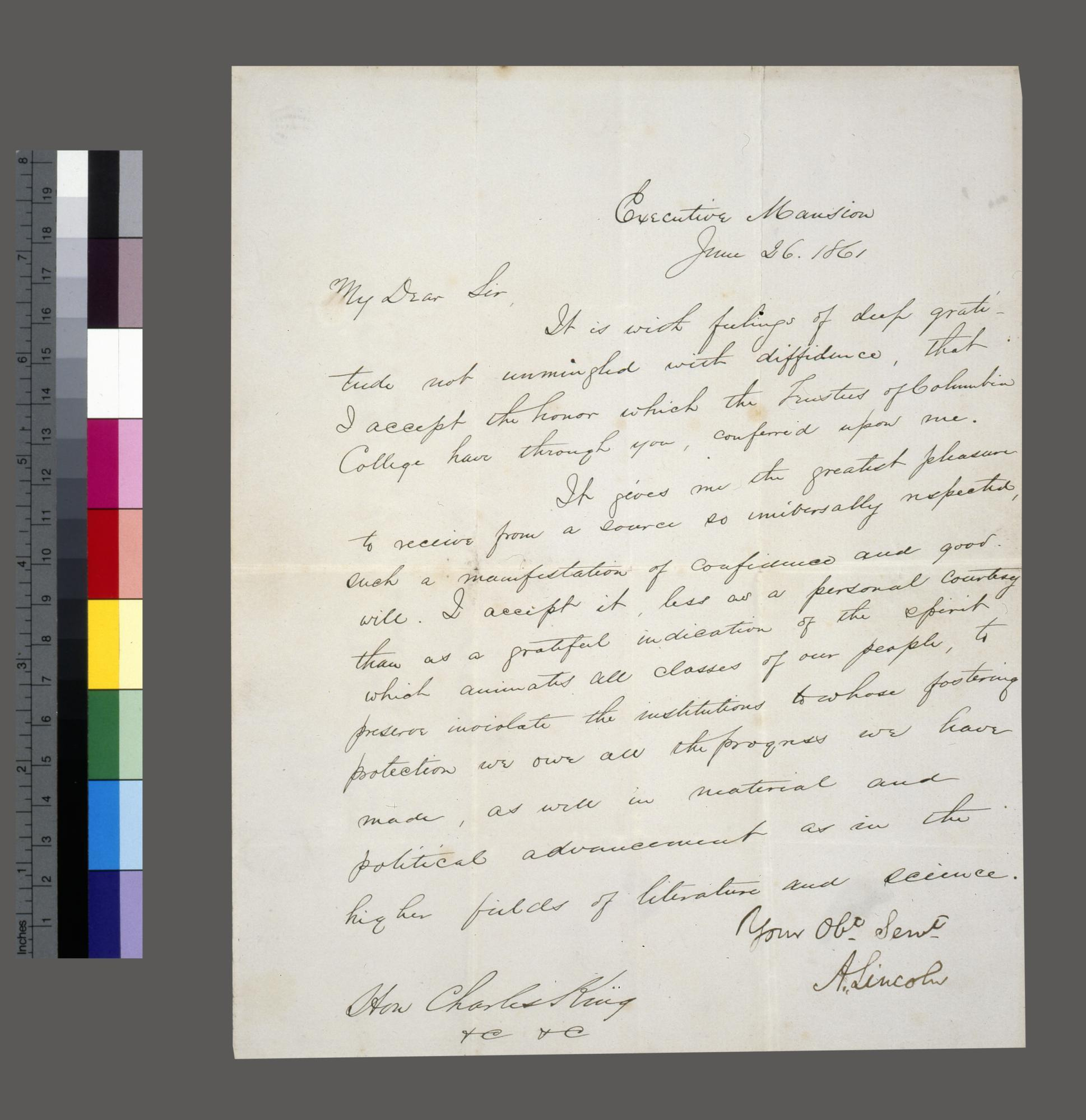 Manuscript letter in John Hay's hand, signed by Lincoln, to Columbia University President Charles King