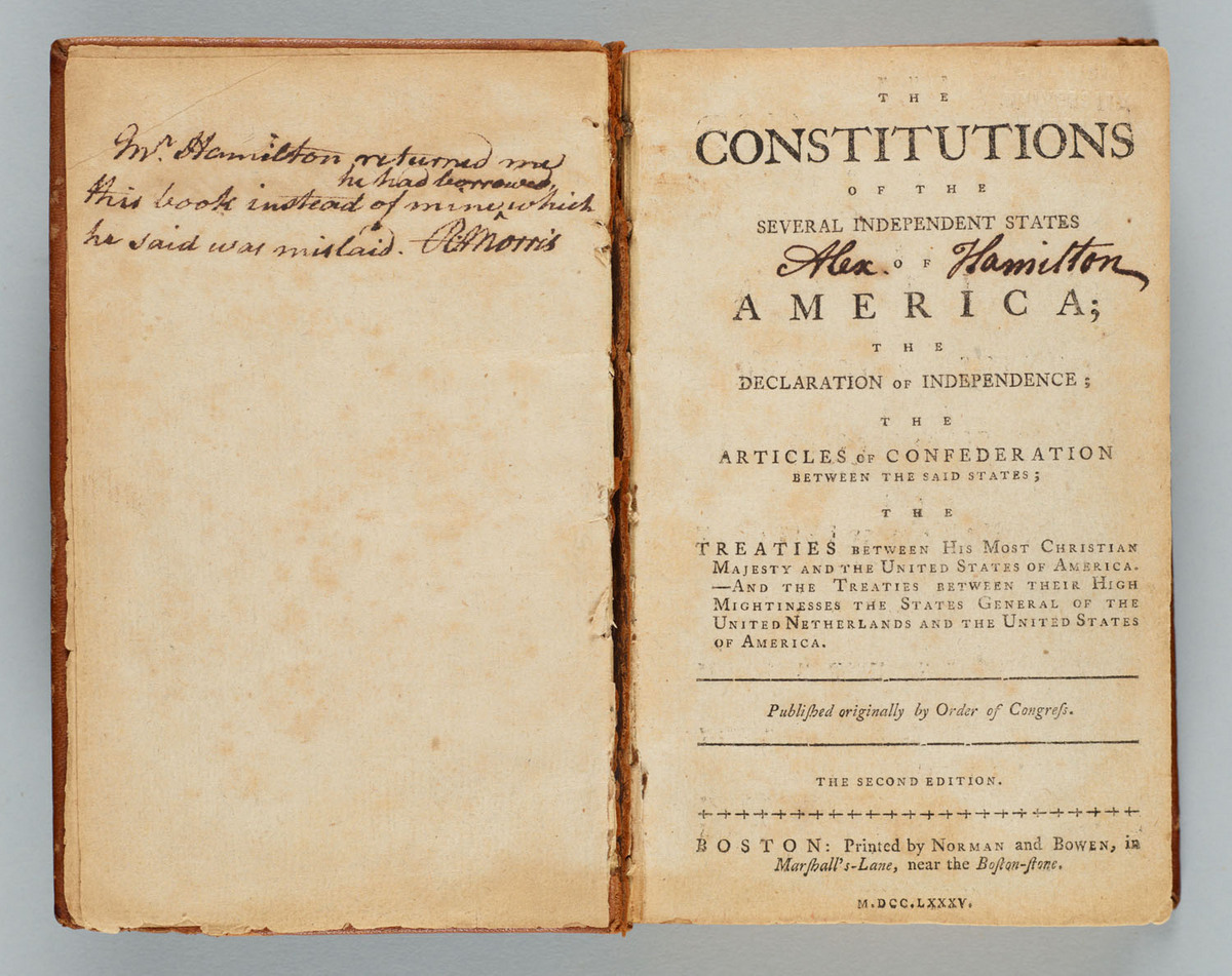 Constitutions of the several independent states of America : the Declaration of Independence, the Articles of Confederation between the said states, the treaties between His Most Christian Majesty and the United States of America, and the treaties between their High Mightinesses the States General of the United Netherlands and the United States of America. Title page
