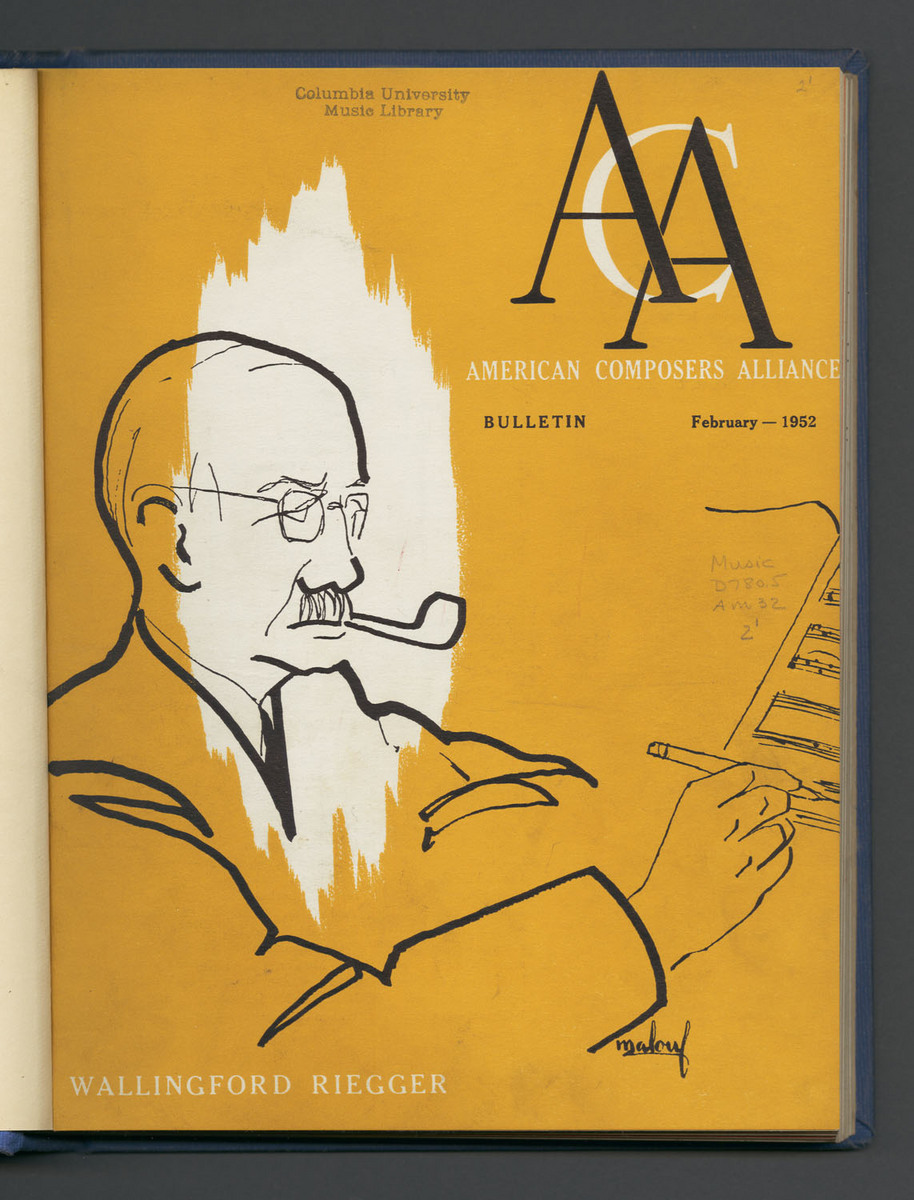 Bulletin of the American Composers Alliance, Cover Vol II, No. 1