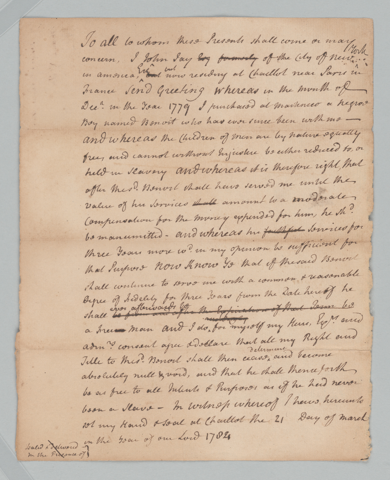 Draft of Conditional Manumission of Benoit, front