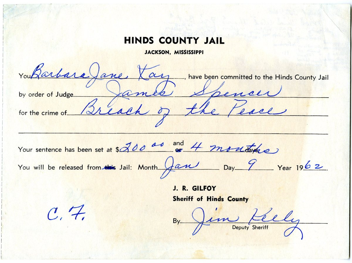 Hinds County Jail Committal Certificate for Barbara Kay