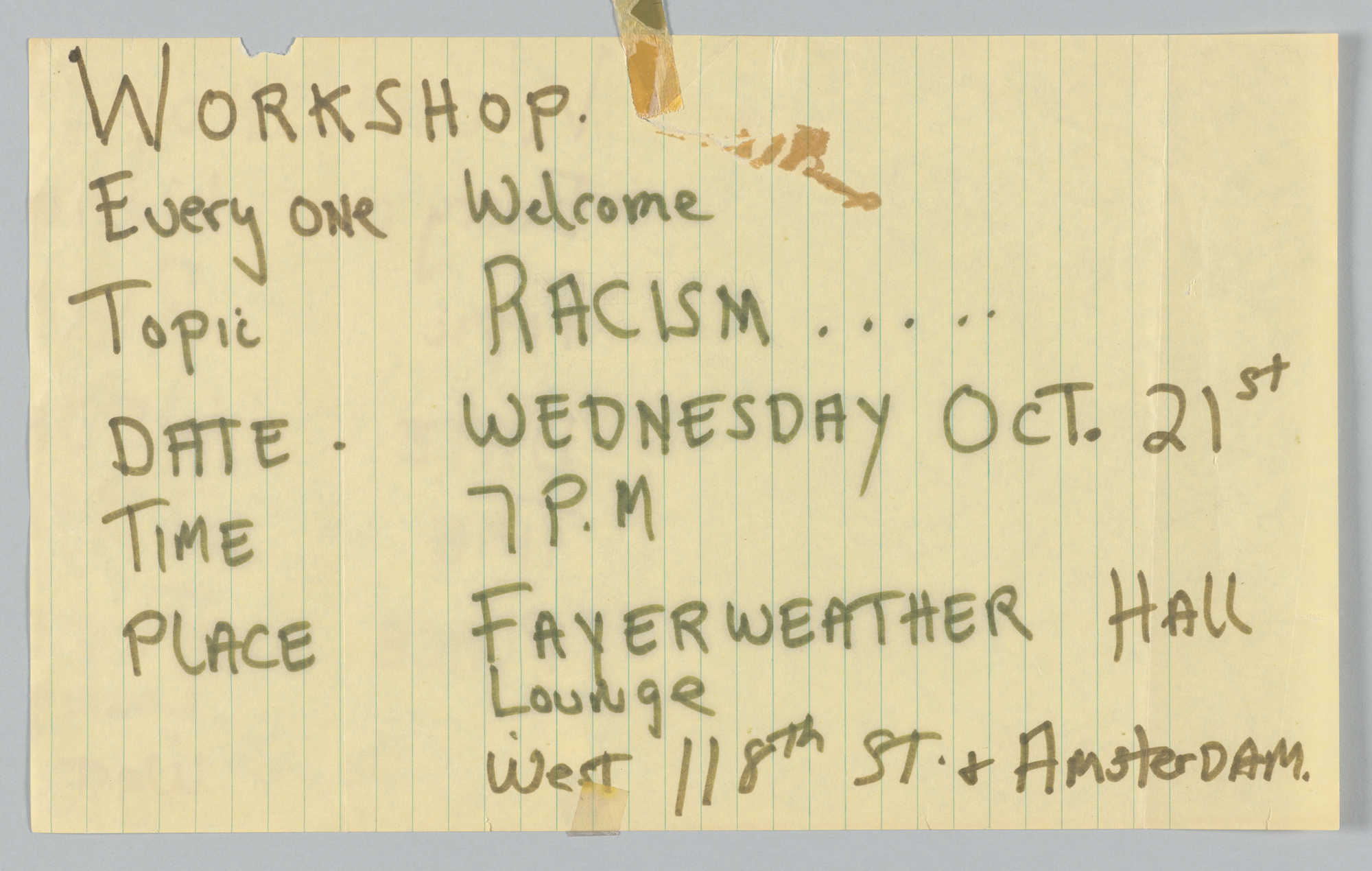 Workshop on Racism