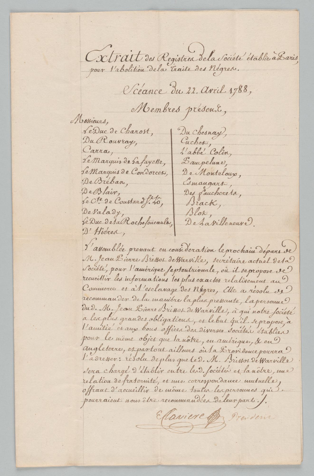 Extrait des Registres de las Societe etablie a Paris, pour l'abolition de la Traite des Negres, front