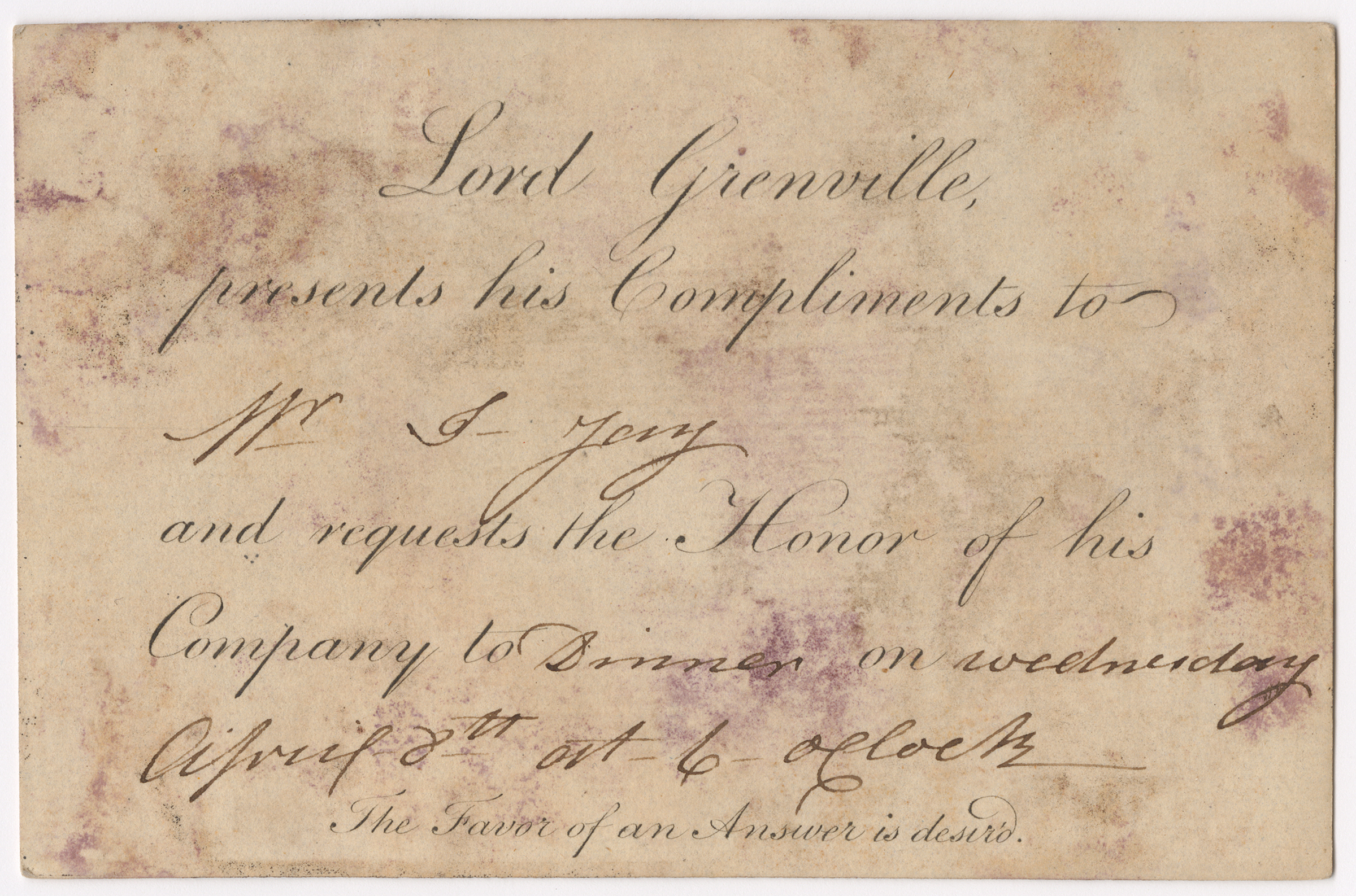 Lord Grenville Calling Card, front
