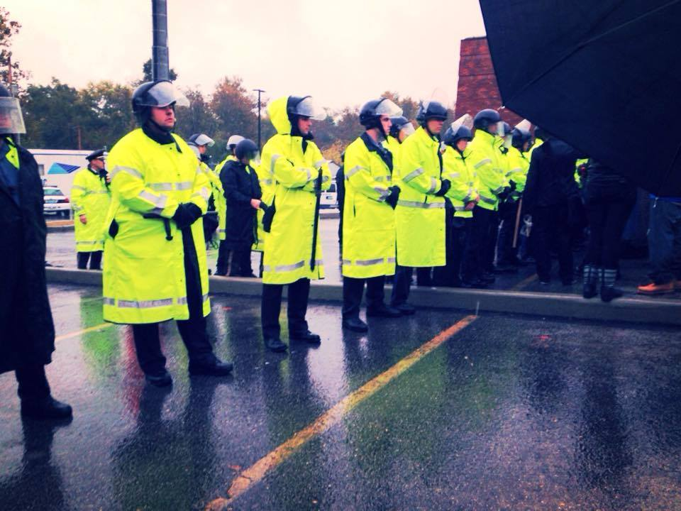 Police Line in the Rain
