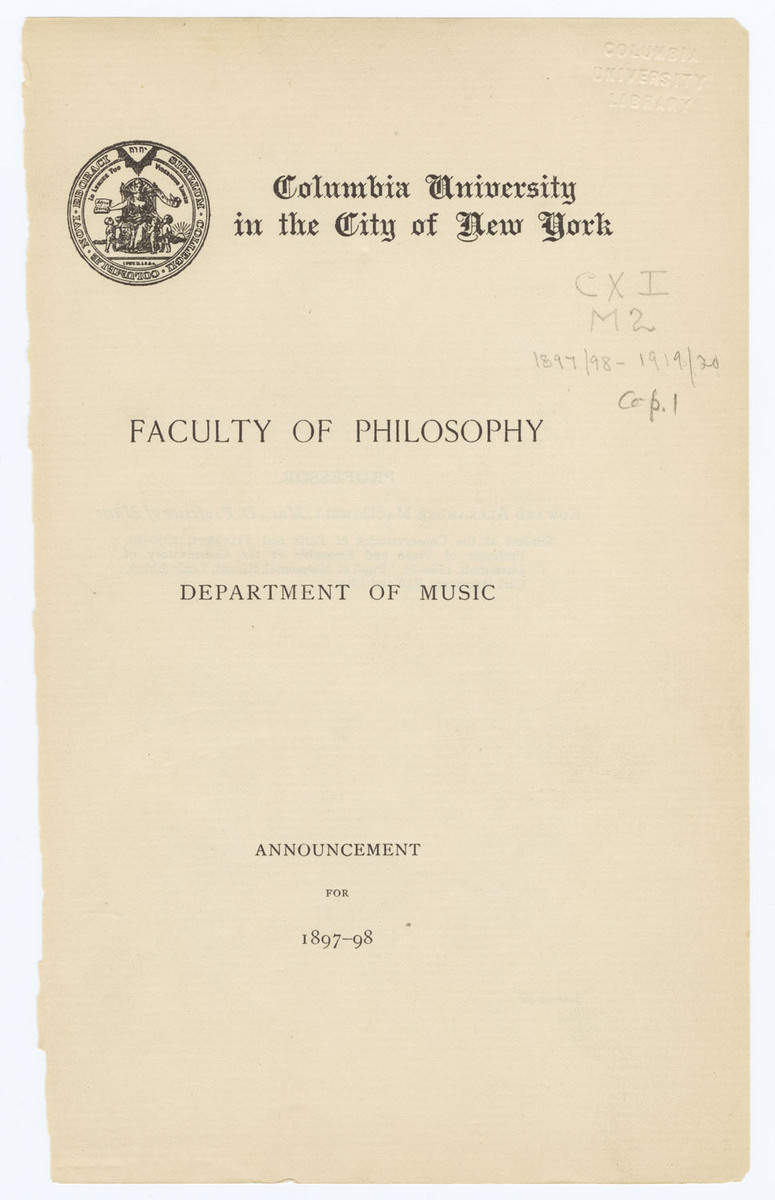 Faculty of Philosophy, Department of Music, Announcement for 1897-98, Cover