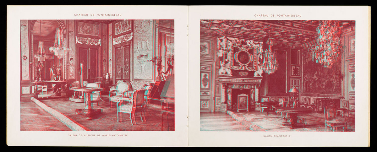 Fontainebleau en relief par les anaglyphes. View of book open