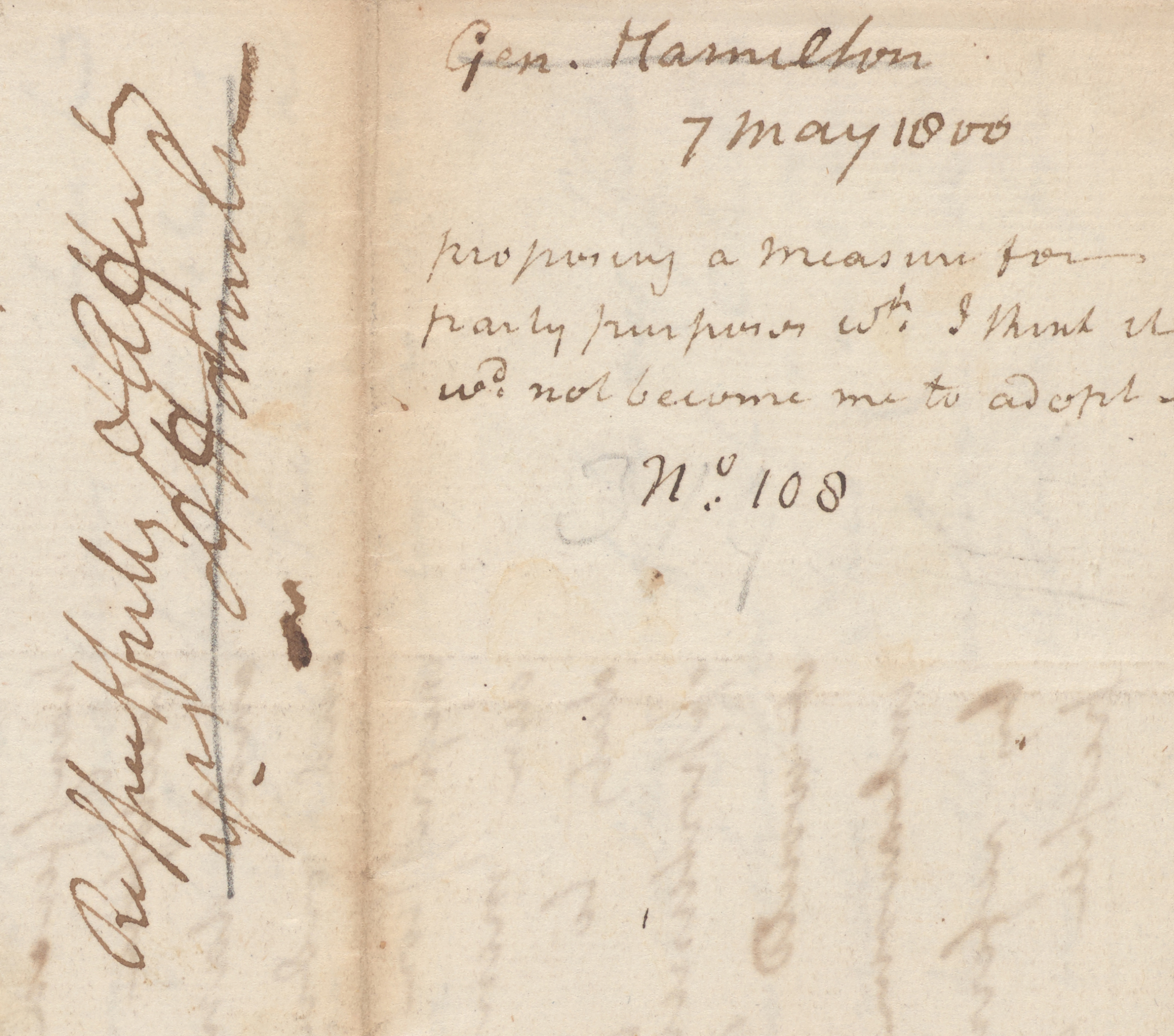 Alexander Hamilton to John Jay, detail of endorsement