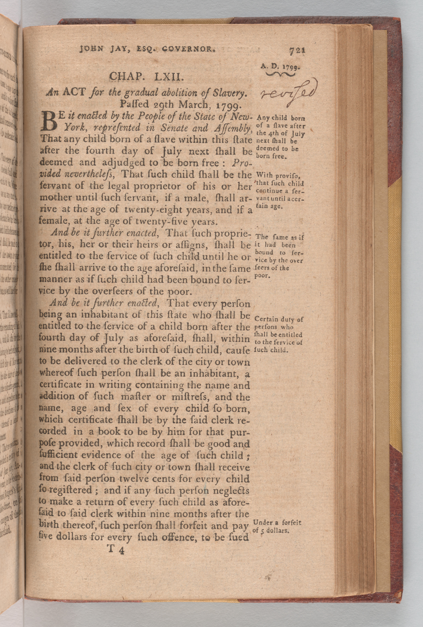 Laws of the State of New-York. Passed at the Twenty-Second Session, Second Meeting, of the Legislature, begun and held at the City of Albany, the Second Day of January 1799, page 721
