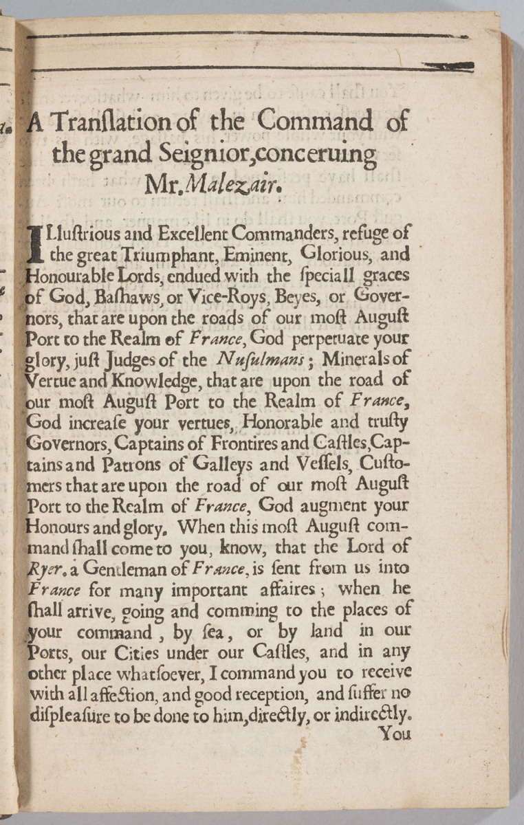 Alcoran Of Mahomet, preface: a translation of the command of the grand Seignior concerning Mr. Malezair