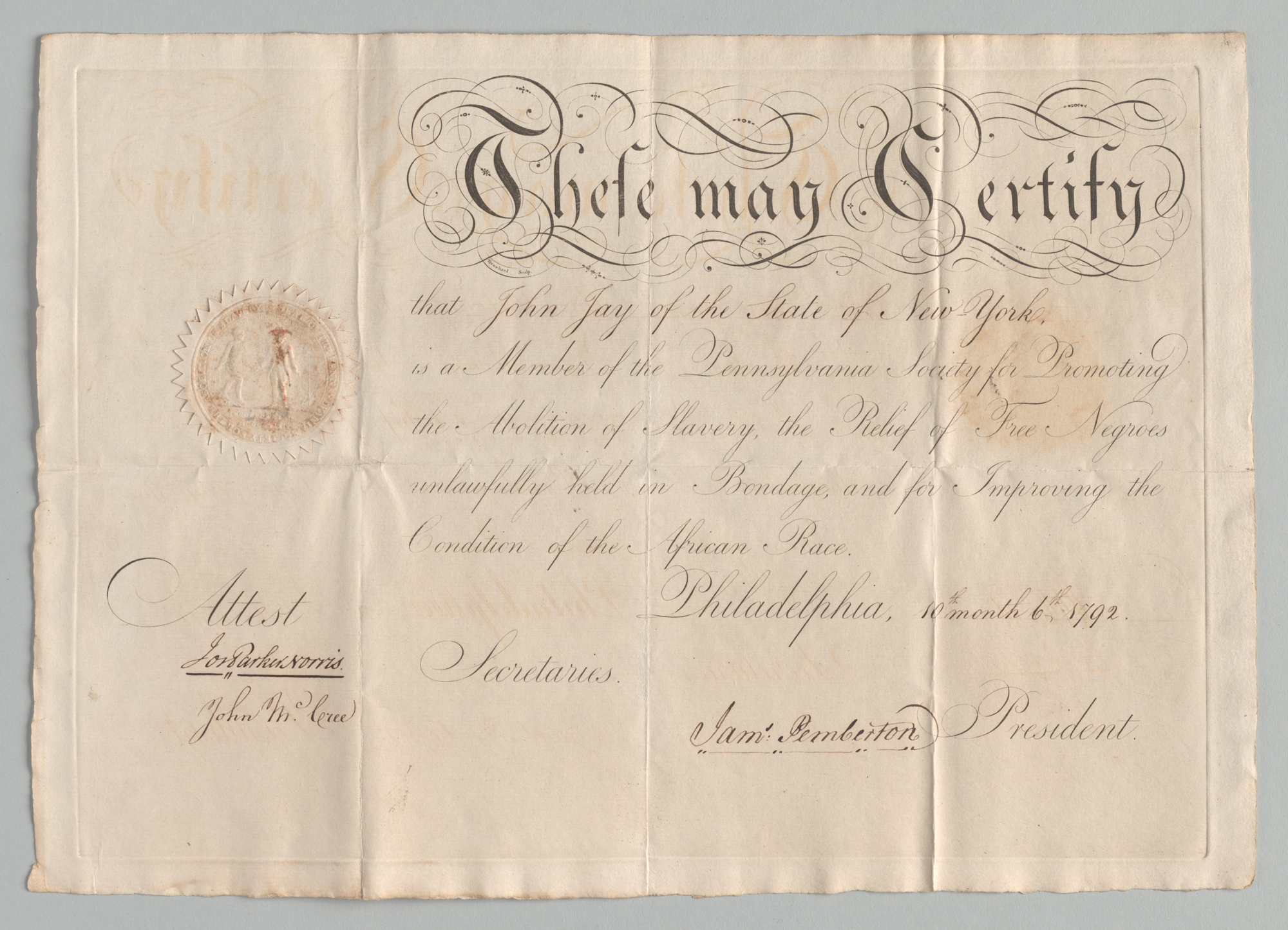 Certificate of Membership in Pennsylvania Soicety for Promoting the Abolition of Slavery, front