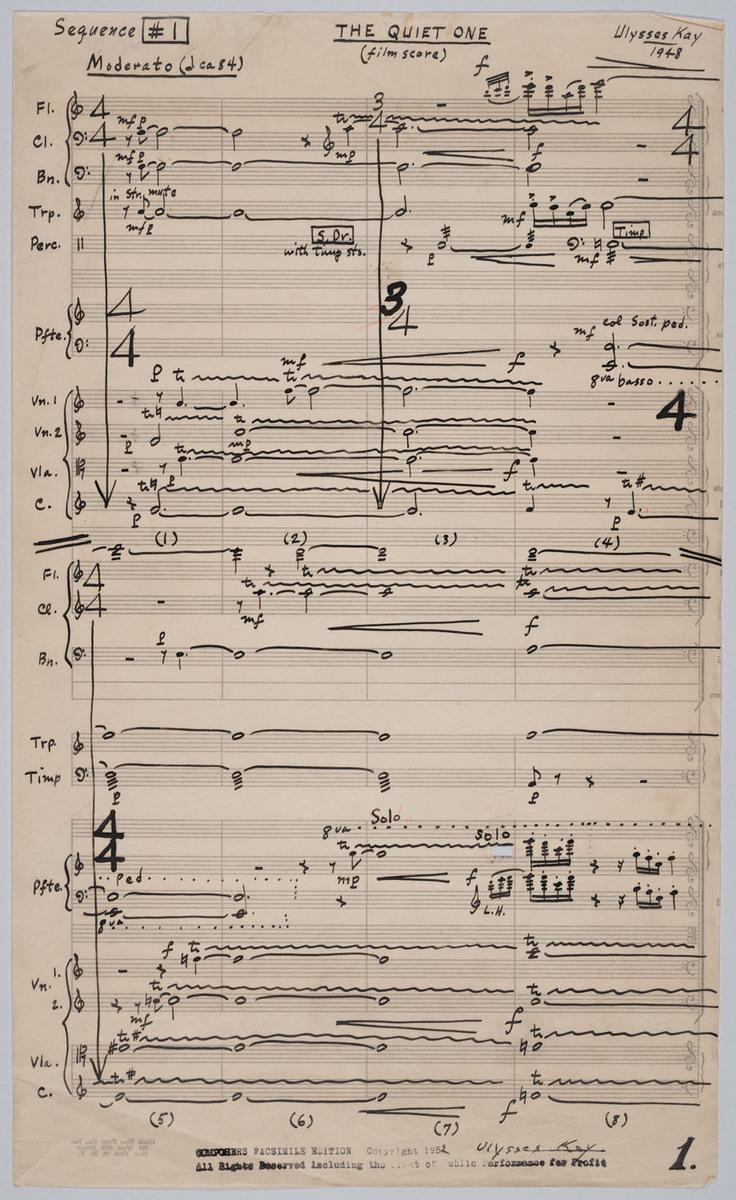 Quiet One (film score), page 1
