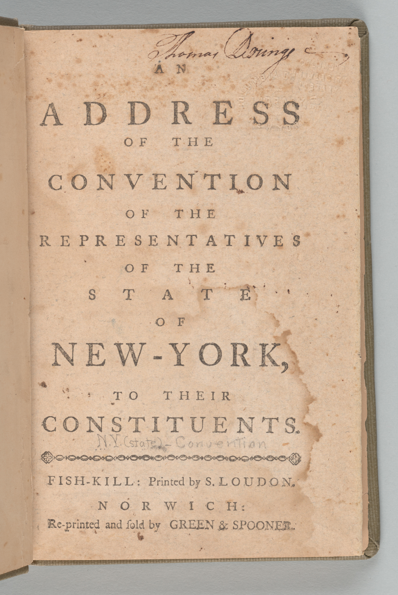 An Address of the Convention of the Representatives of the State of New-York to Their Constituents, title page