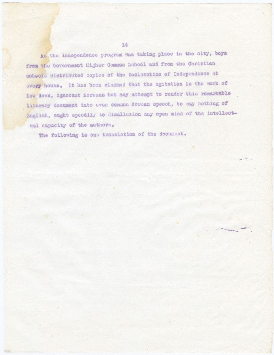 Following is one translation of the Korean Declaration of Independence, (page 14)