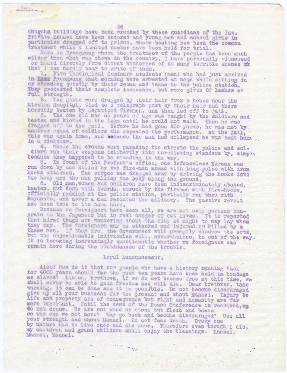 Brief account of revolution to date (March 10th.), (cont.); Loyal Announcement, (page 26)