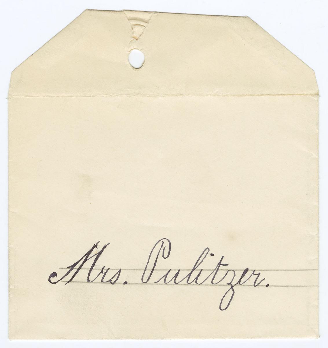 Envelope addressed to Mrs. Pultizer