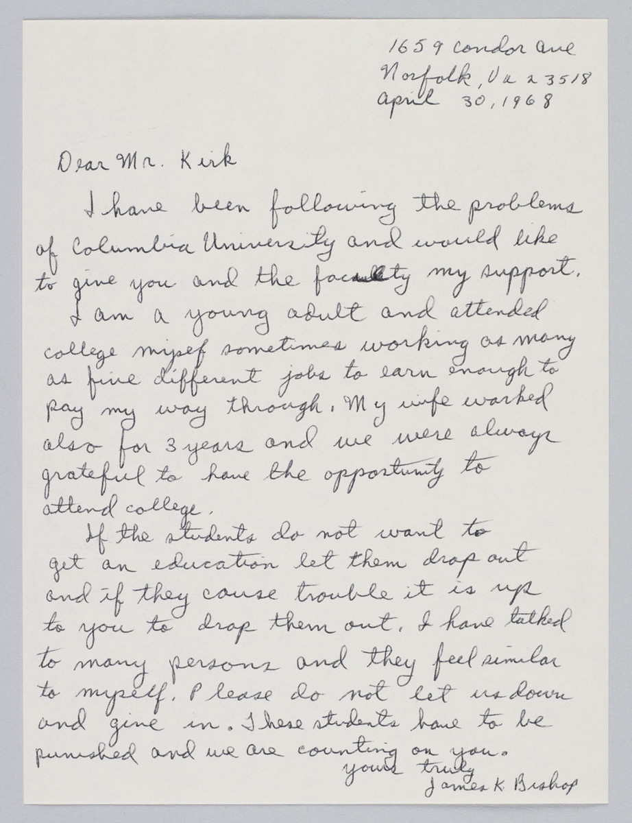 Letter to Kirk from James K. Bishop